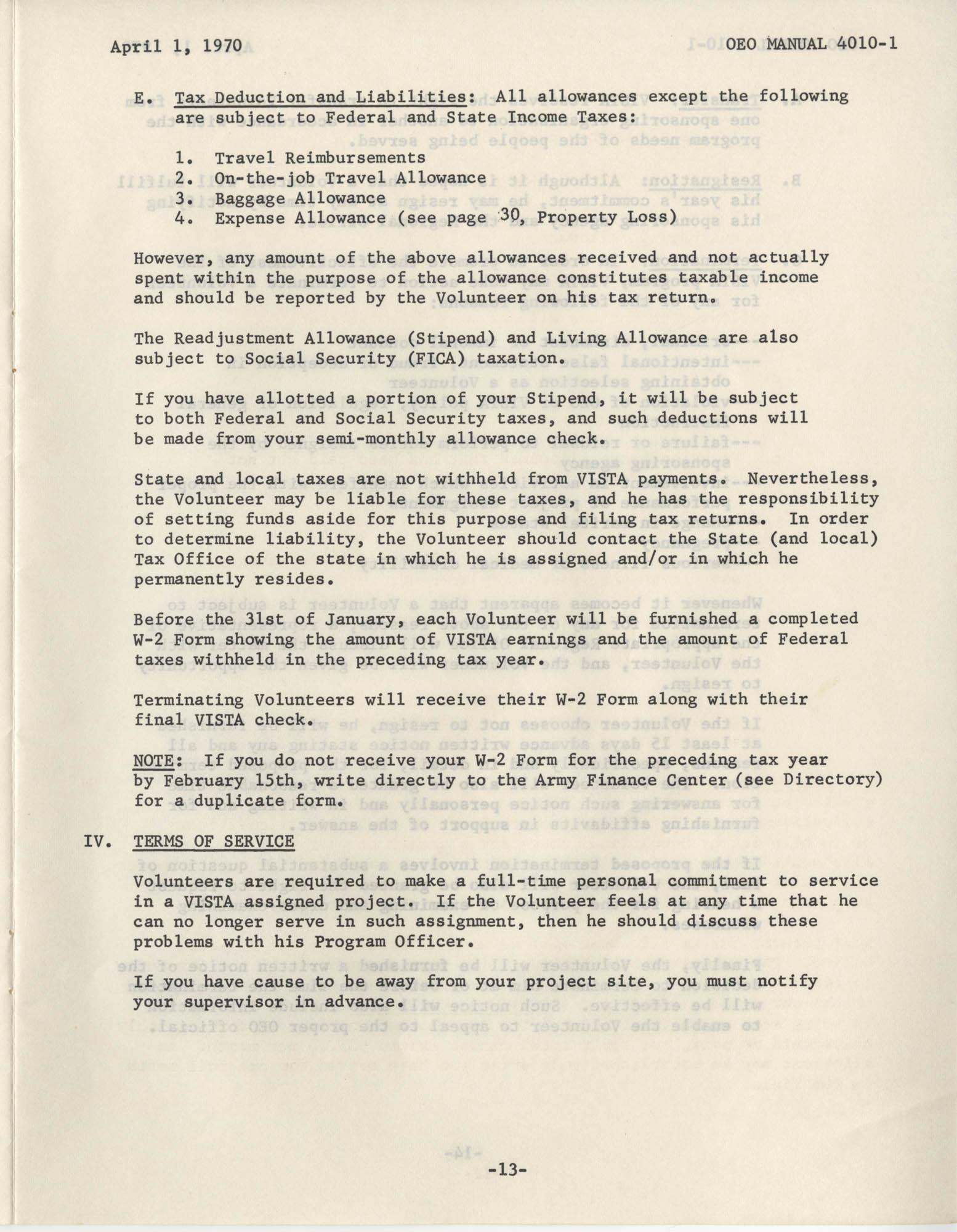 Vista Volunteer Handbook, April 1970, Page 13