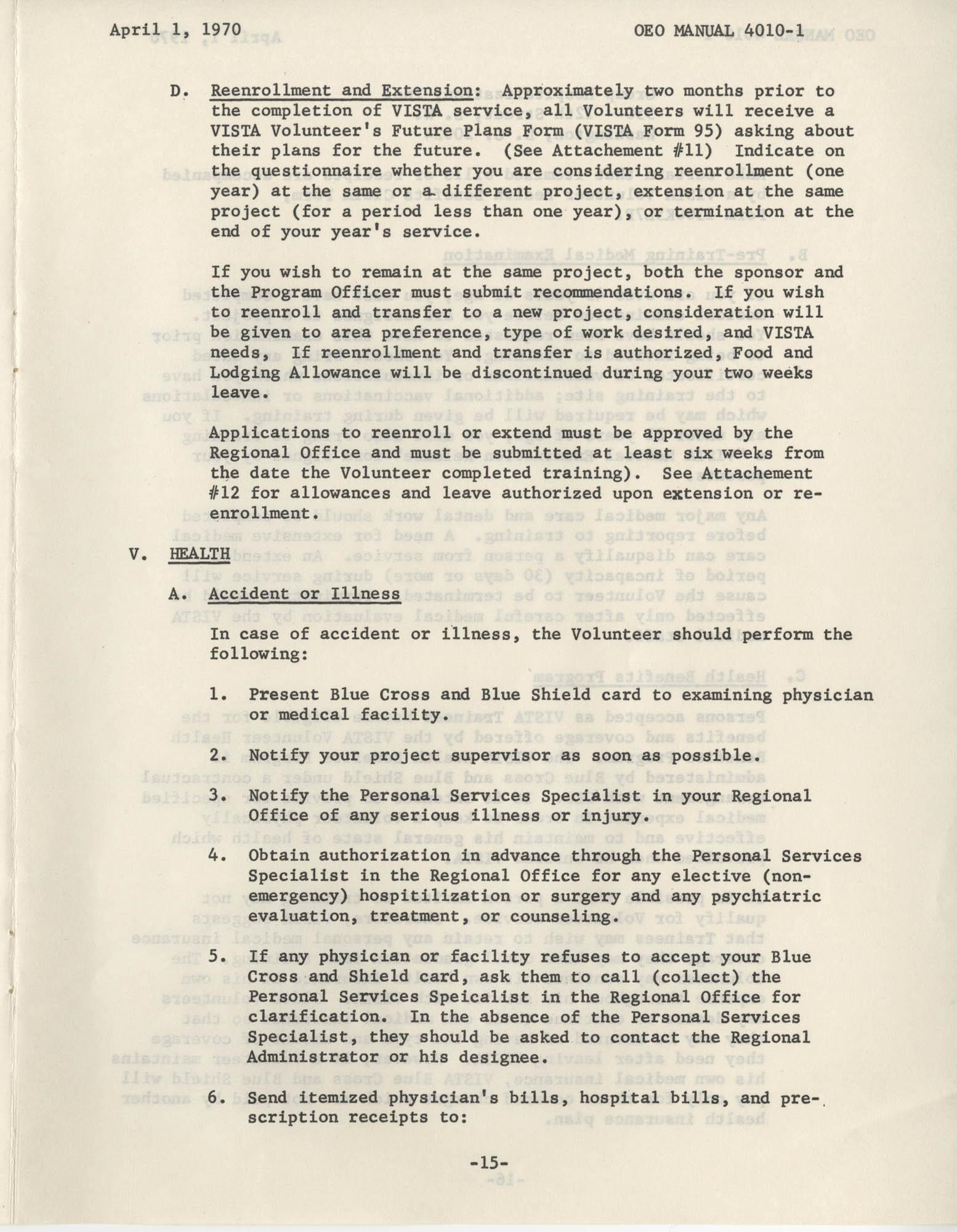 Vista Volunteer Handbook, April 1970, Page 15