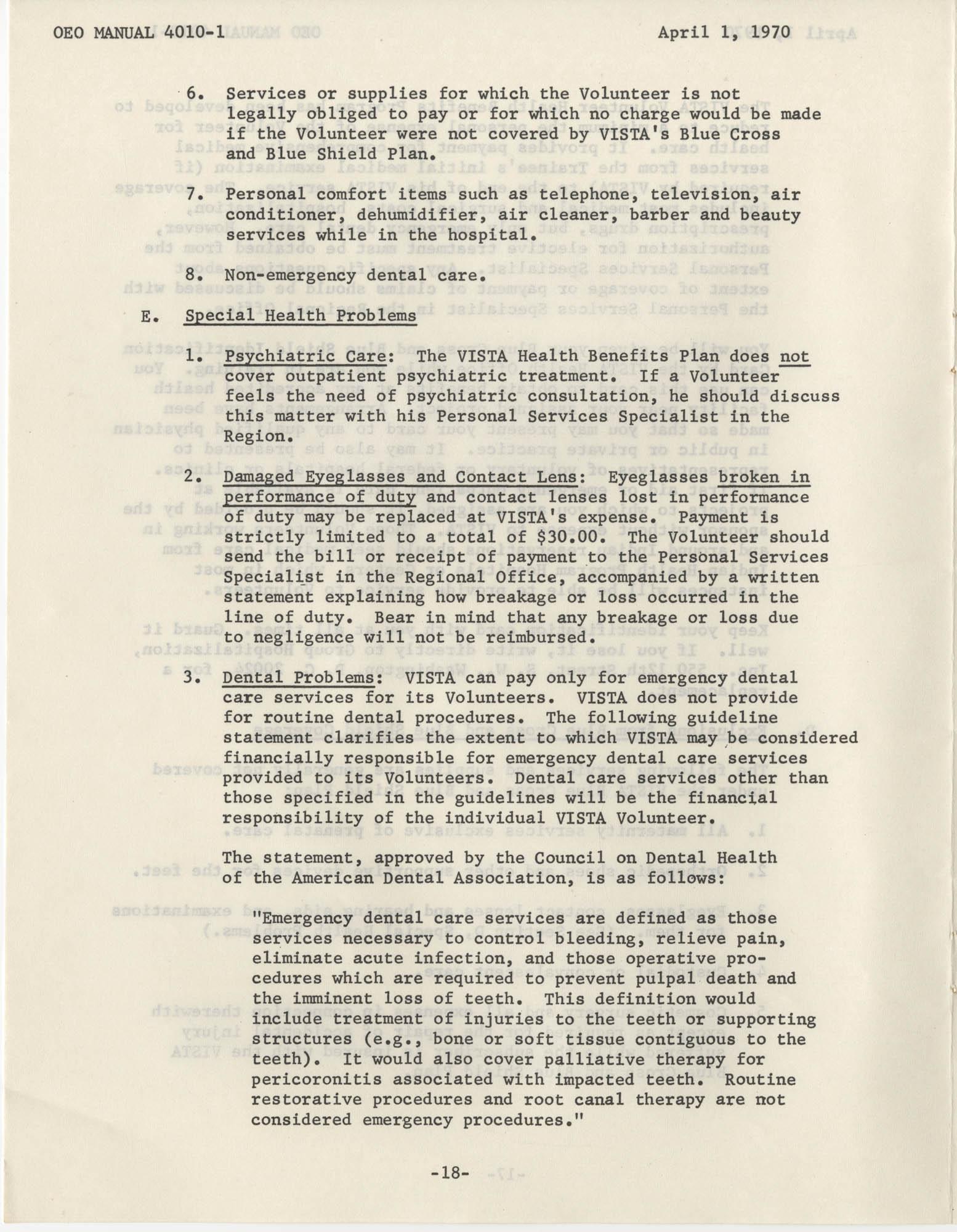 Vista Volunteer Handbook, April 1970, Page 18