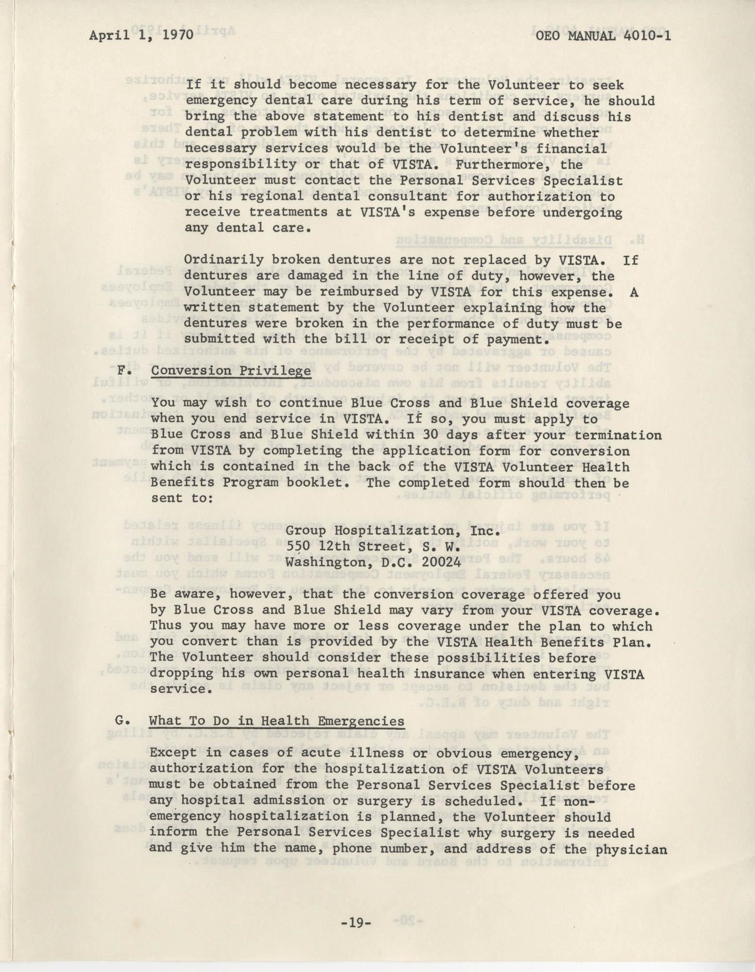 Vista Volunteer Handbook, April 1970, Page 19