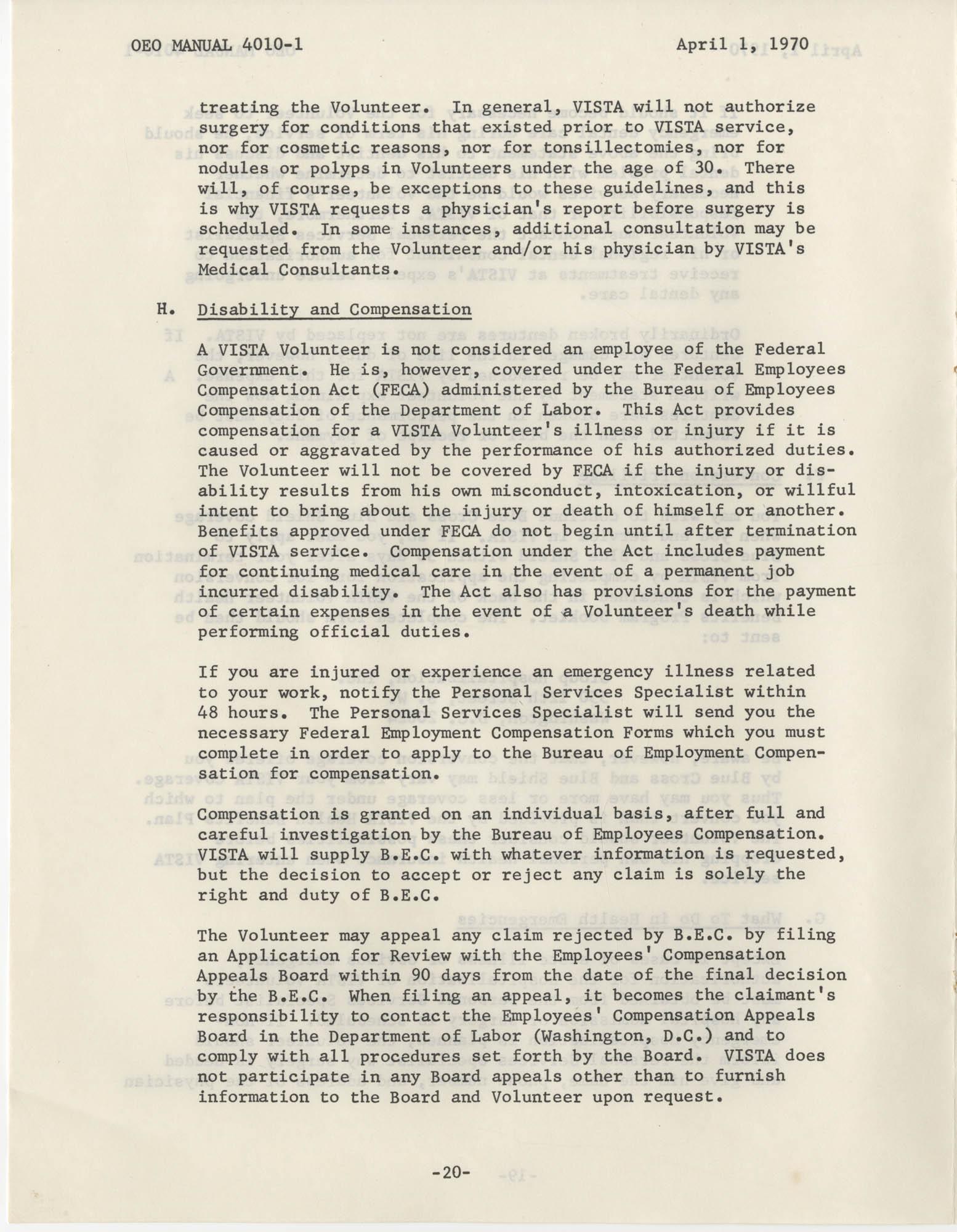 Vista Volunteer Handbook, April 1970, Page 20