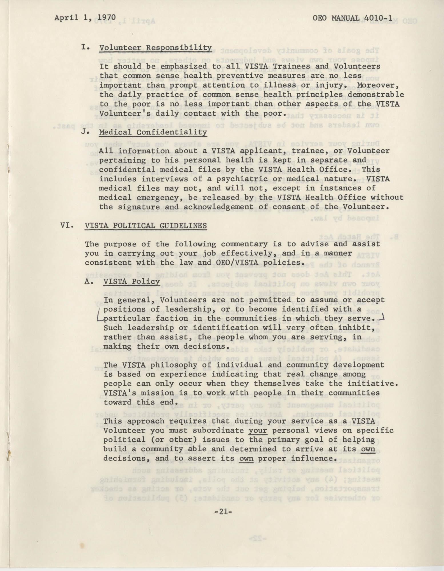 Vista Volunteer Handbook, April 1970, Page 21