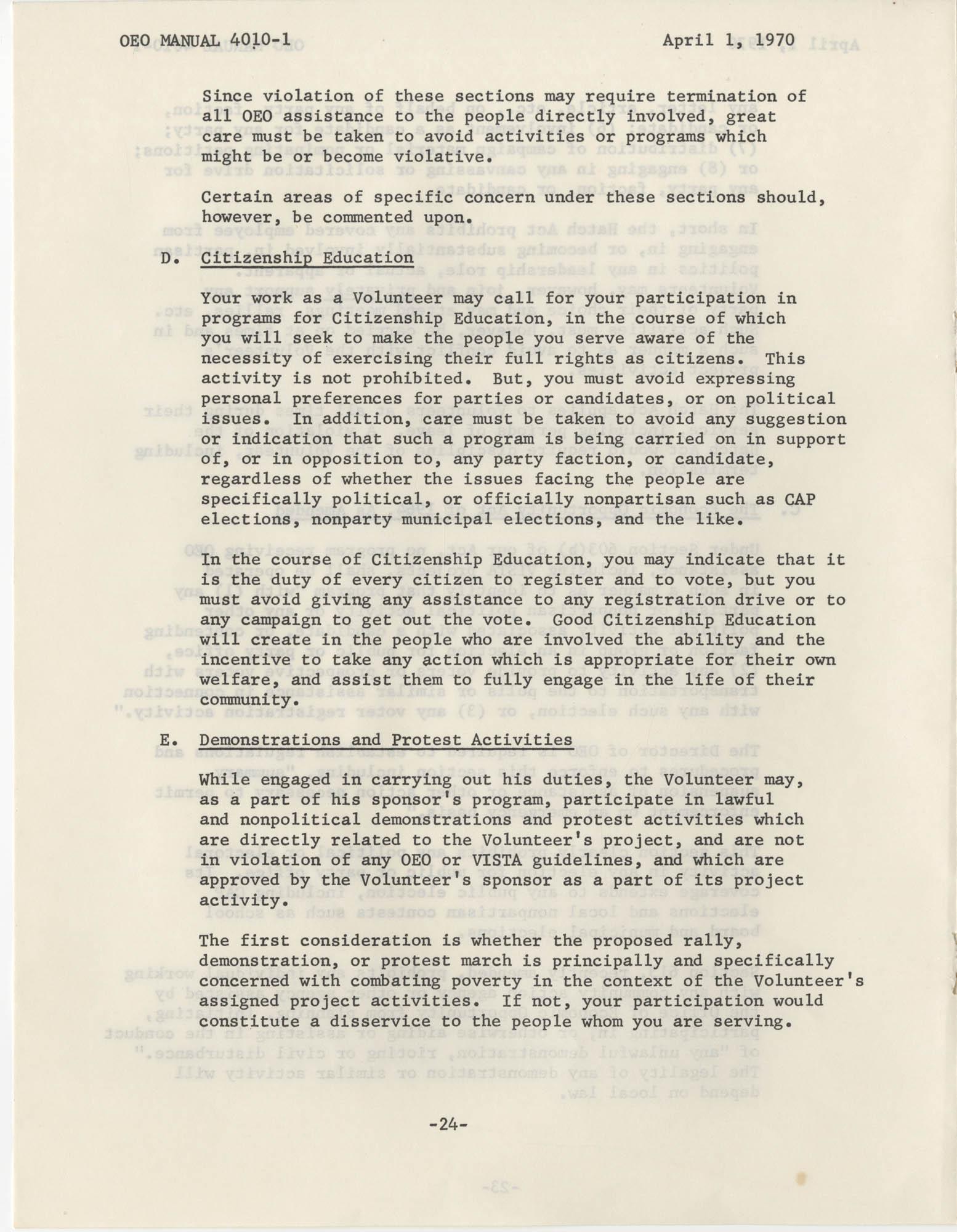 Vista Volunteer Handbook, April 1970, Page 24