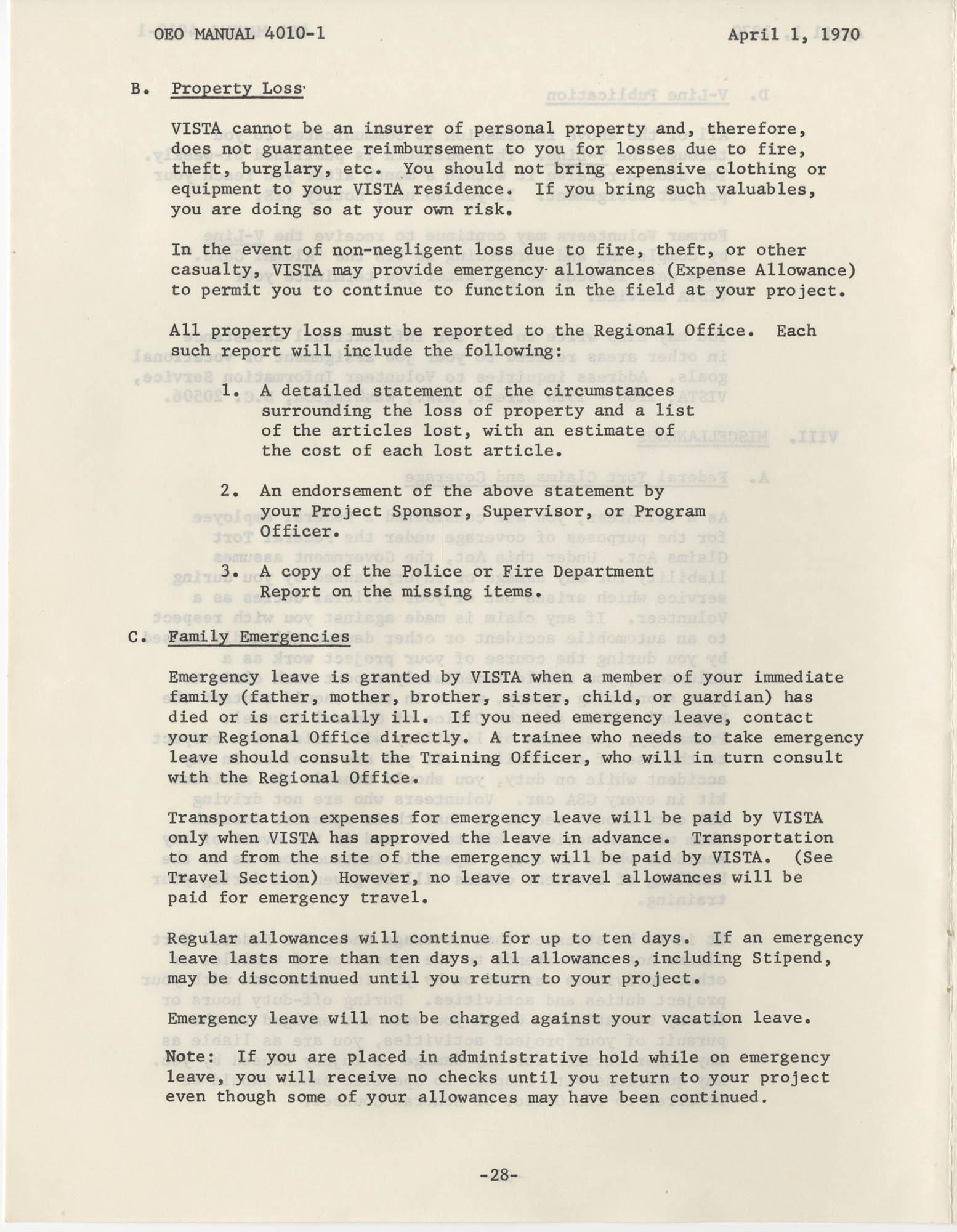 Vista Volunteer Handbook, April 1970, Page 28