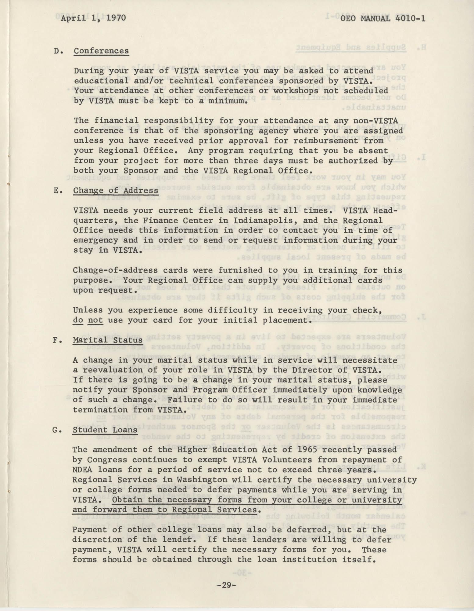 Vista Volunteer Handbook, April 1970, Page 29