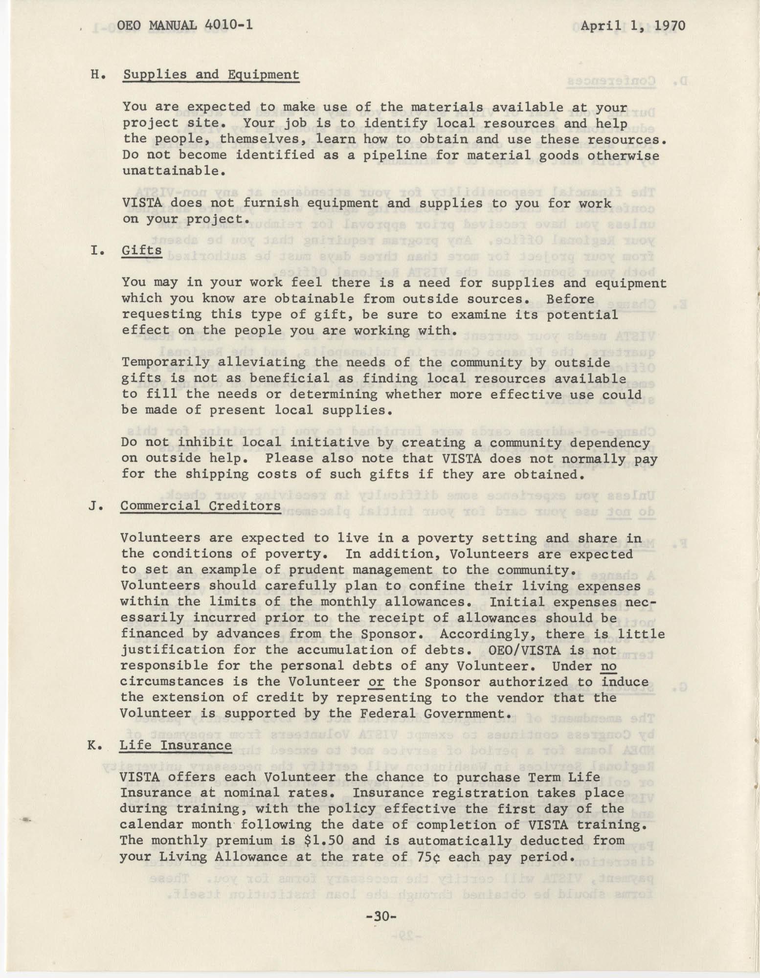 Vista Volunteer Handbook, April 1970, Page 30