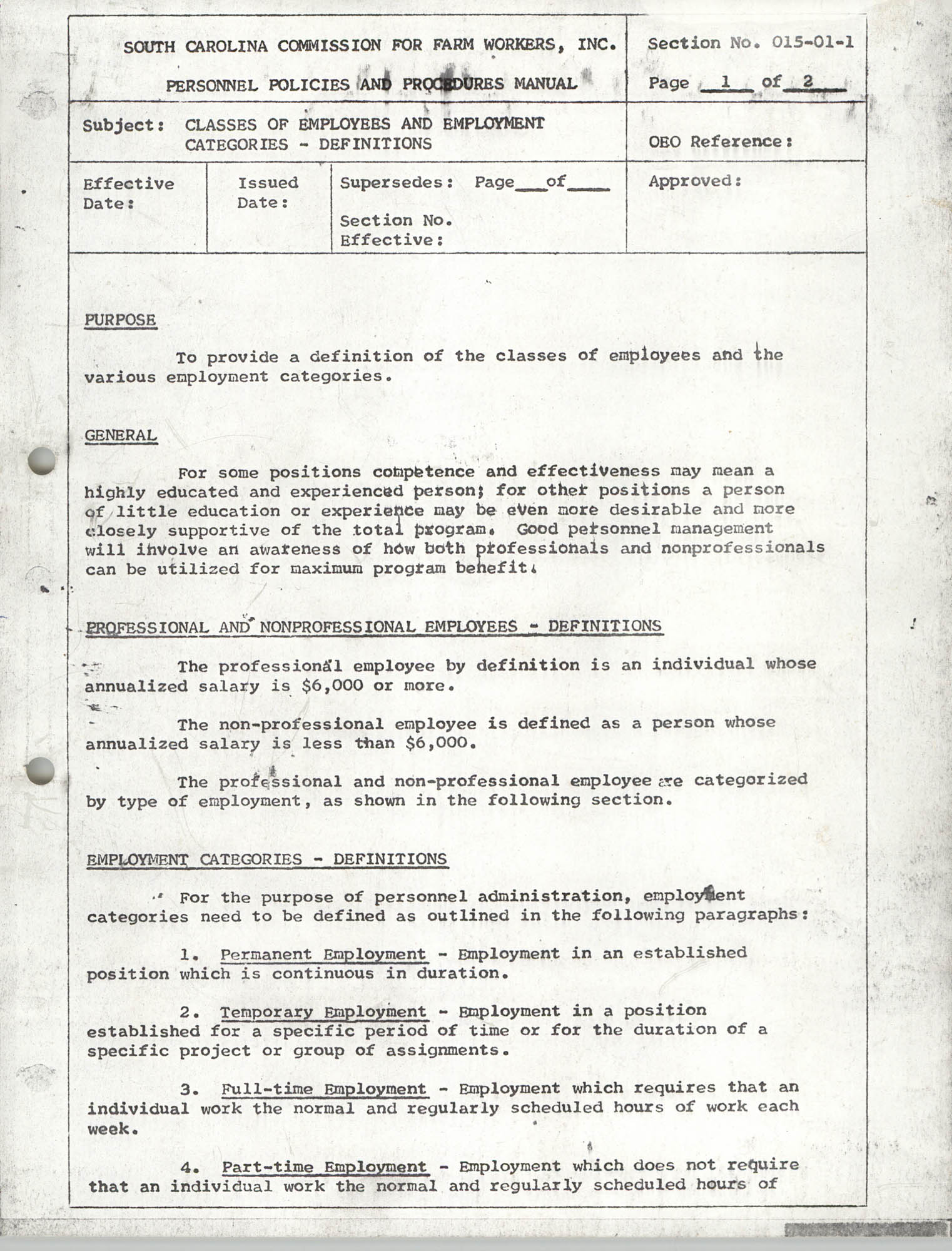 Personnel Policies and Procedures Manual, Section No. 015-01-1, Page 1