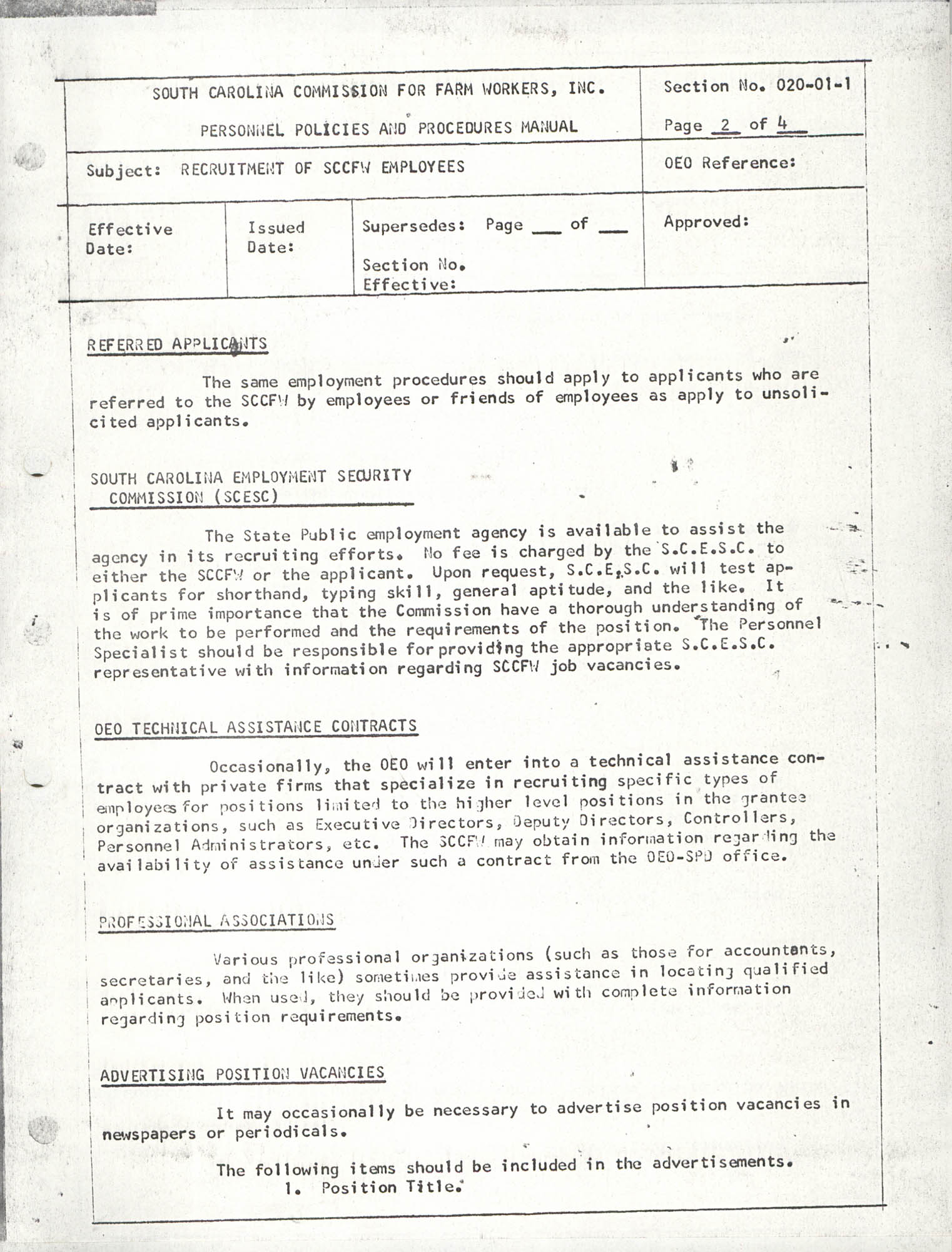 Personnel Policies and Procedures Manual, Section No. 020-01-1, Page 2