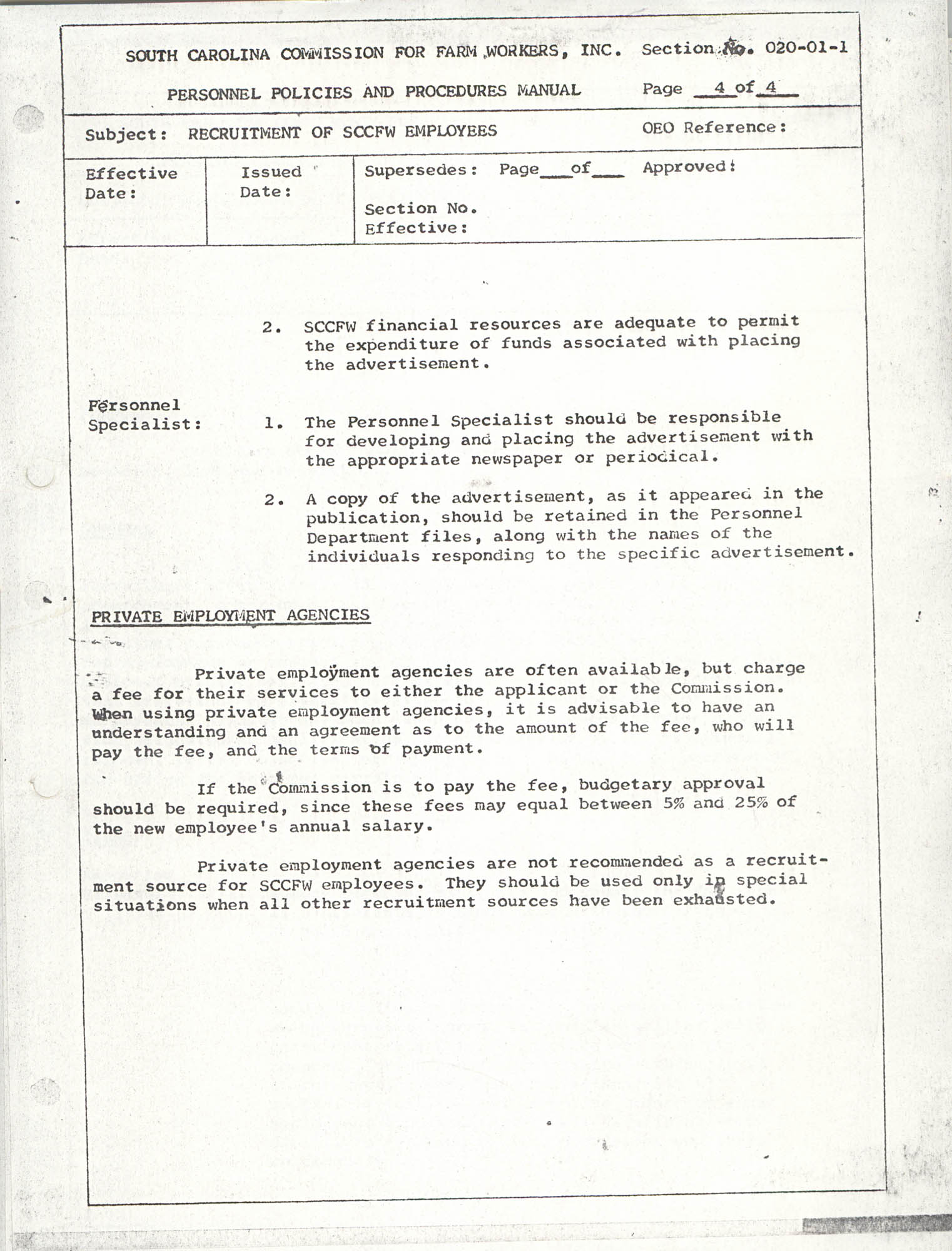 Personnel Policies and Procedures Manual, Section No. 020-01-1, Page 4