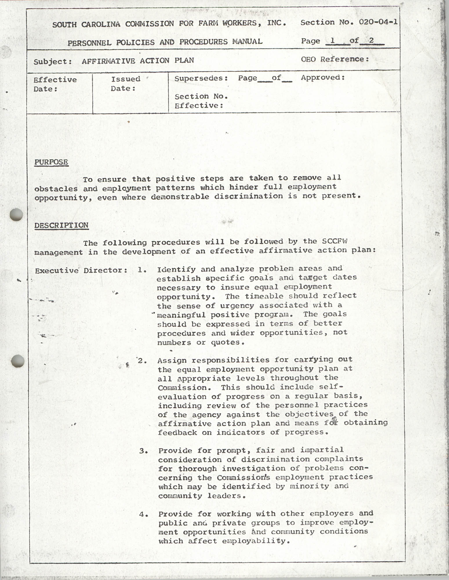 Personnel Policies and Procedures Manual, Section No. 020-04-1, Page 1