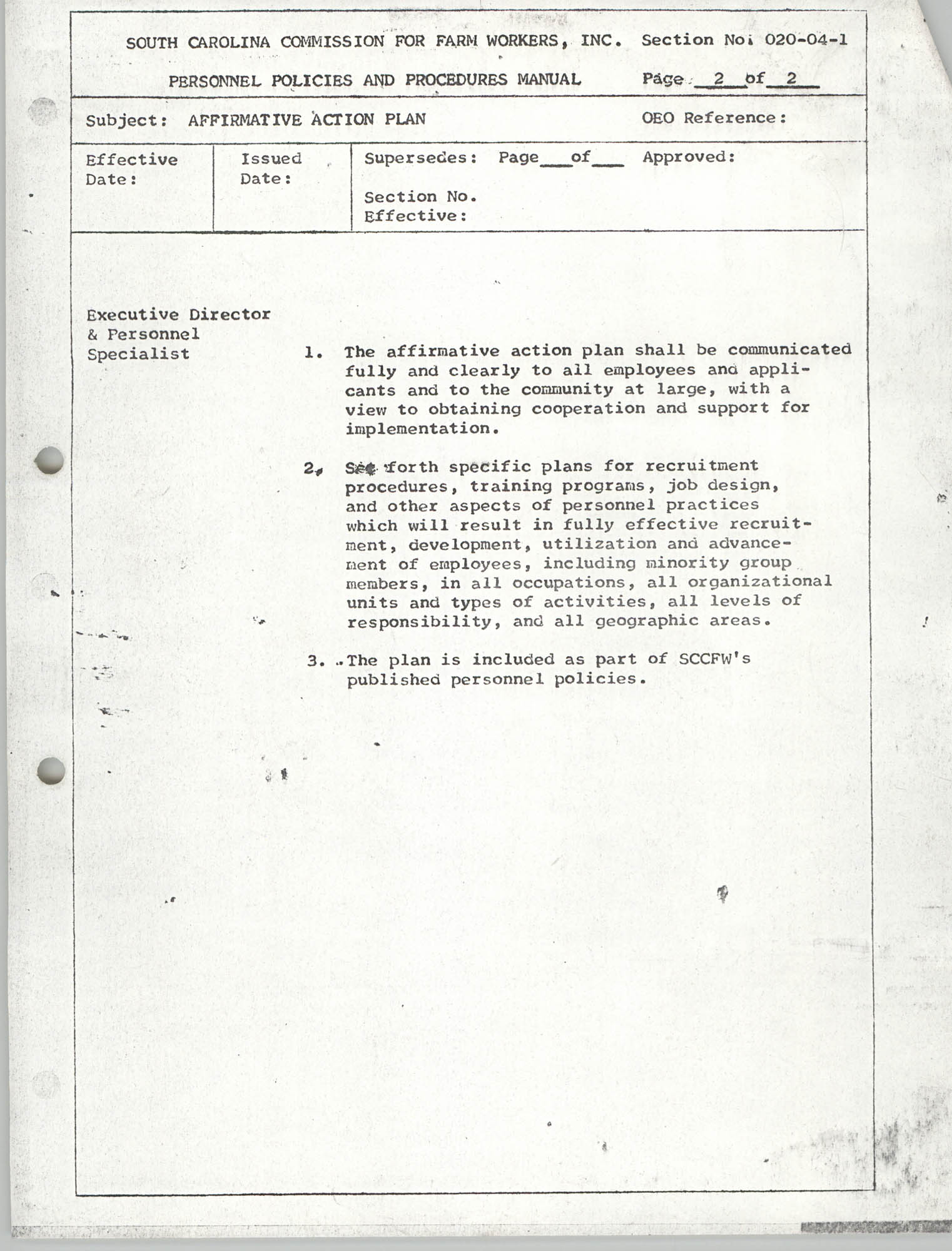 Personnel Policies and Procedures Manual, Section No. 020-04-1, Page 2