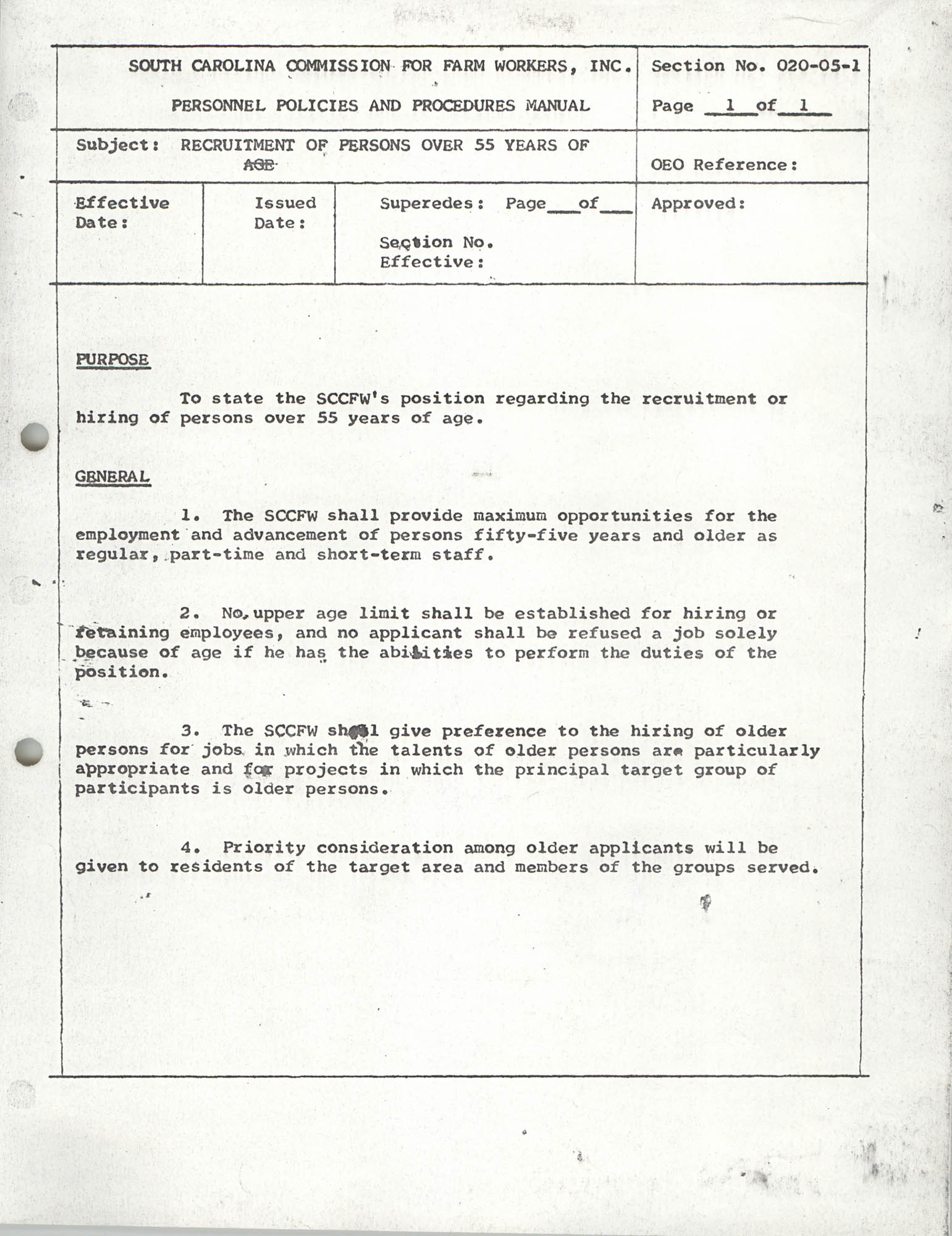 Personnel Policies and Procedures Manual, Section No. 020-05-1