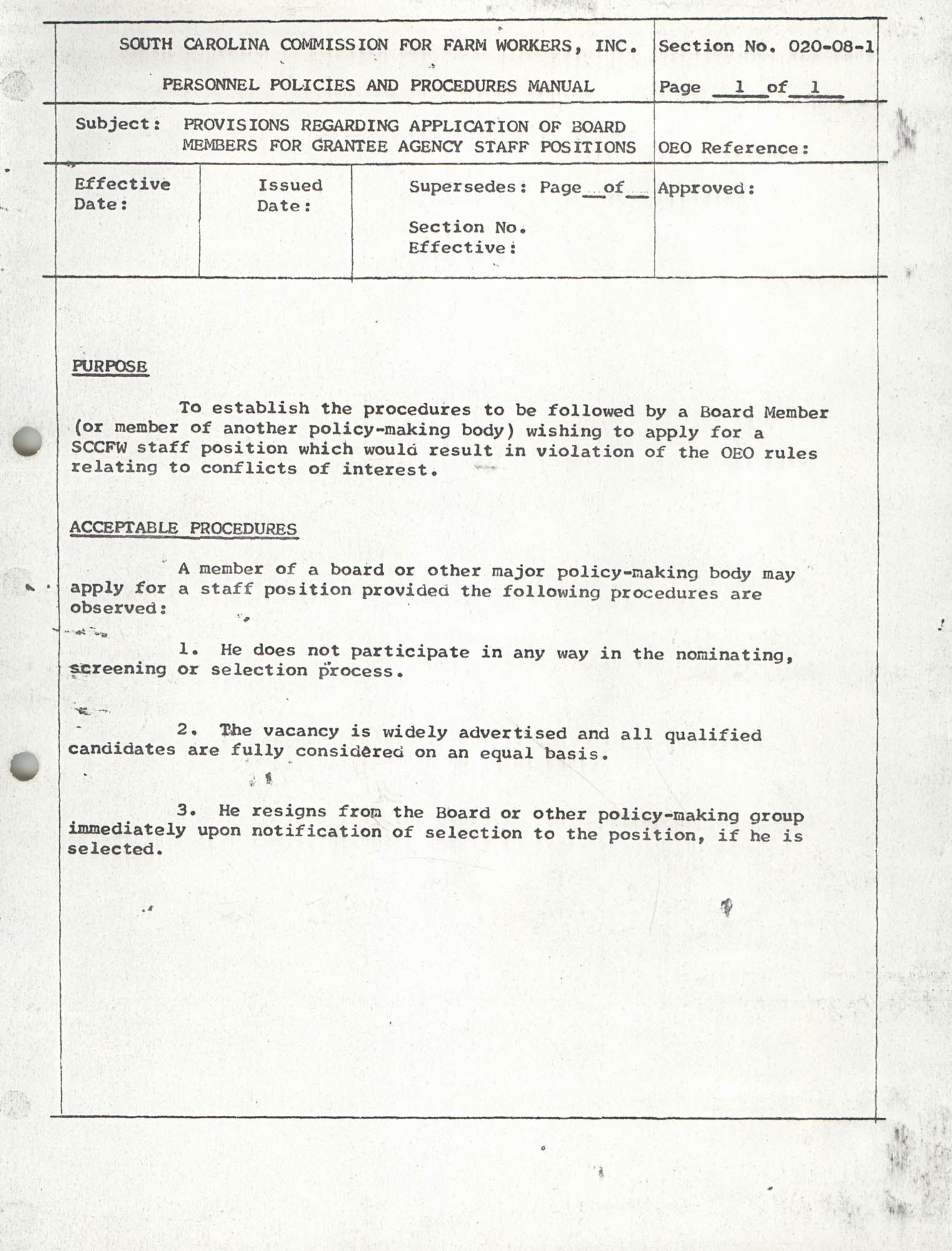 Personnel Policies and Procedures Manual, Section No. 020-08-1
