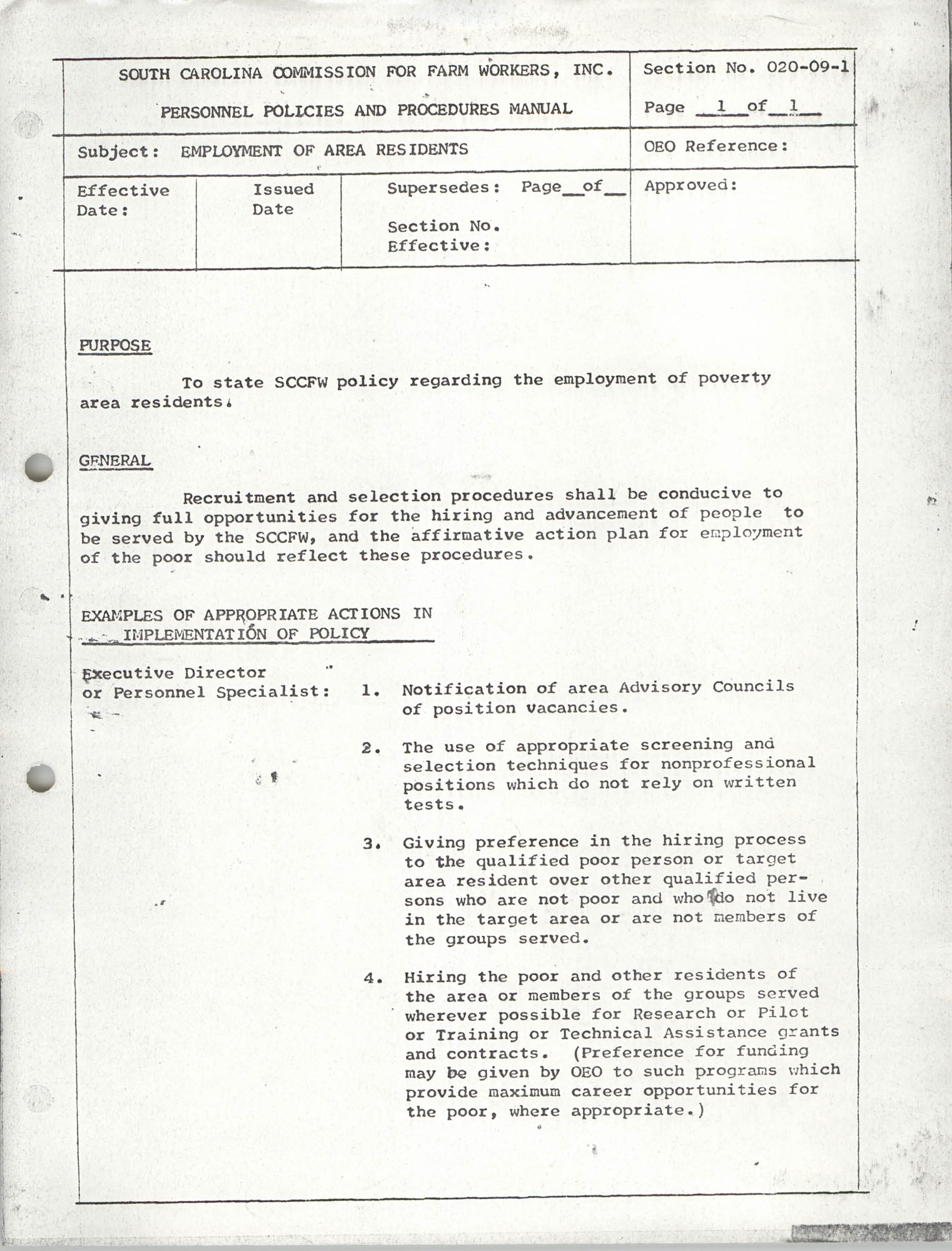 Personnel Policies and Procedures Manual, Section No. 020-09-1