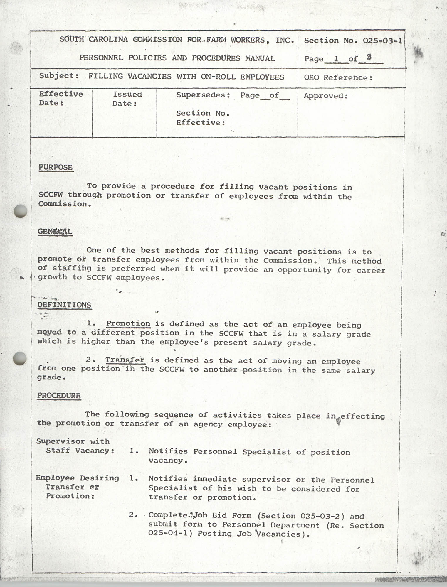 Personnel Policies and Procedures Manual, Section No. 025-03-1, Page 1