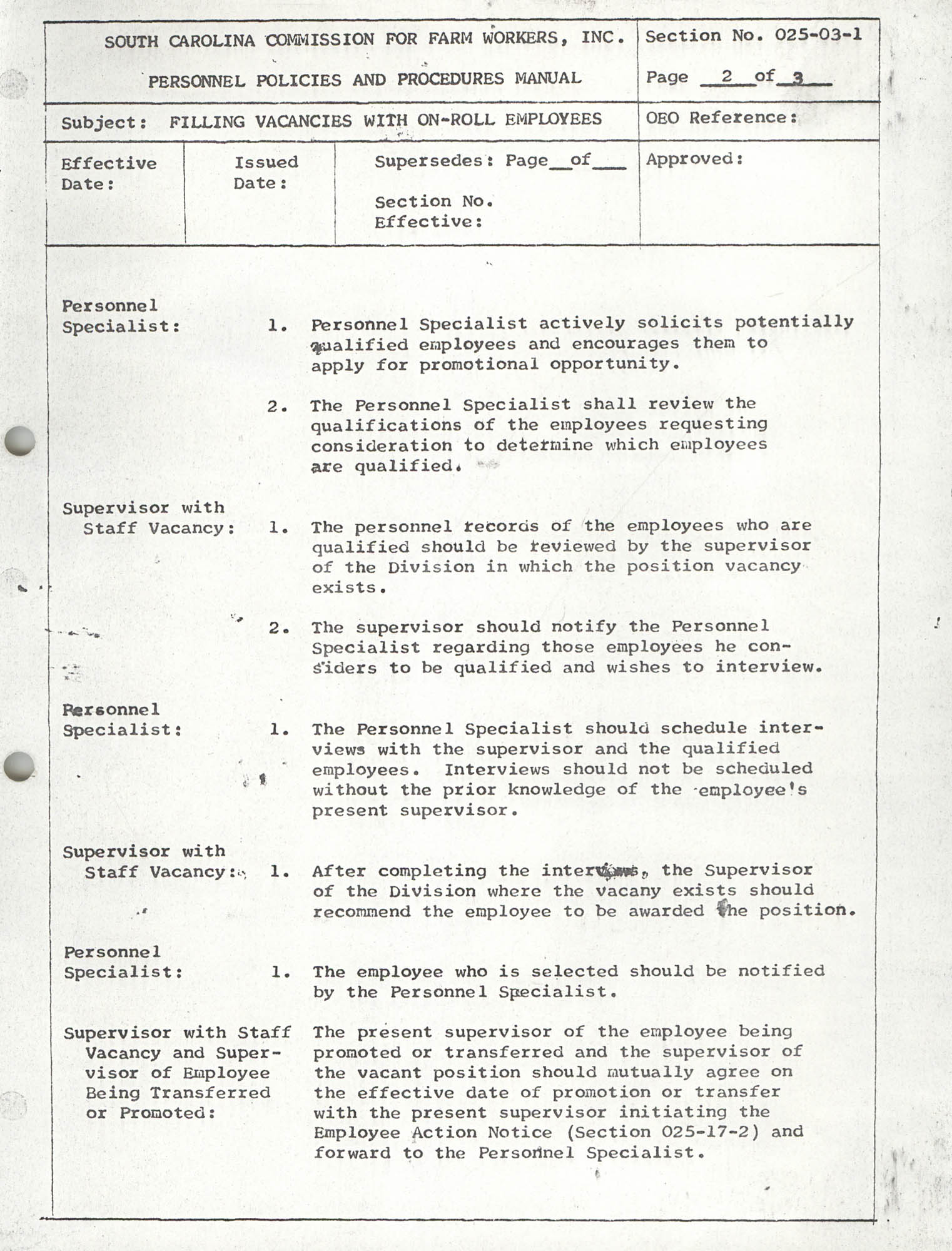 Personnel Policies and Procedures Manual, Section No. 025-03-1, Page 2