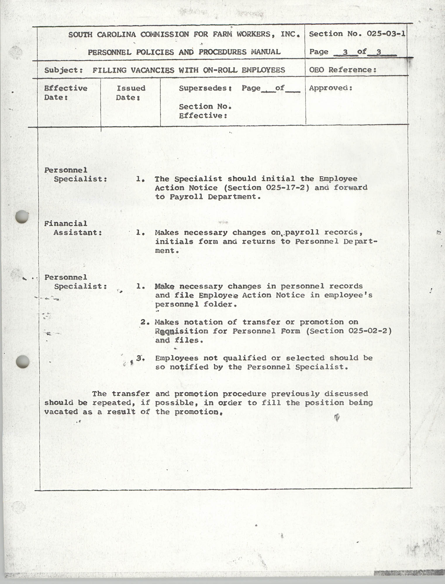 Personnel Policies and Procedures Manual, Section No. 025-03-1, Page 3
