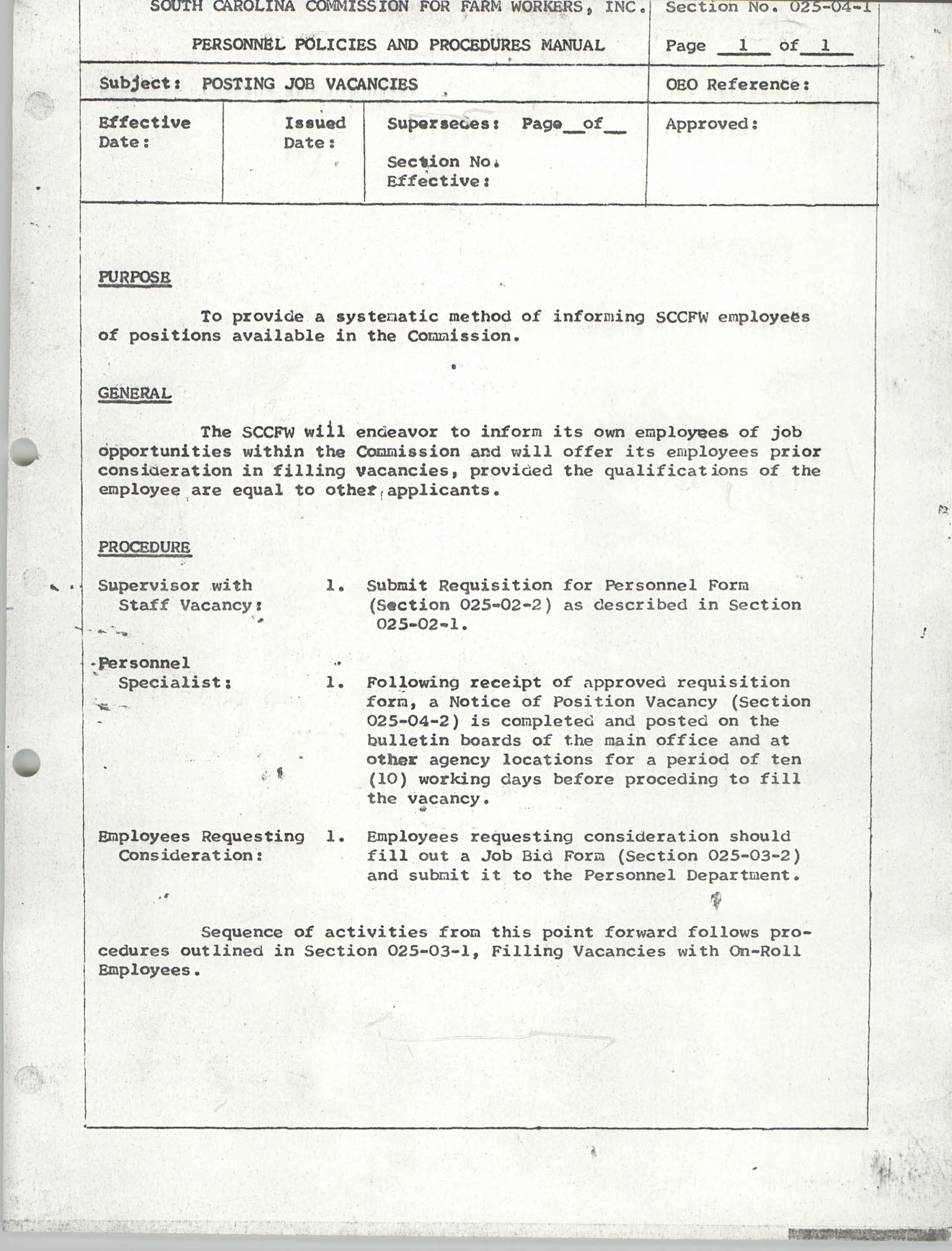 Personnel Policies and Procedures Manual, Section No. 025-04-1