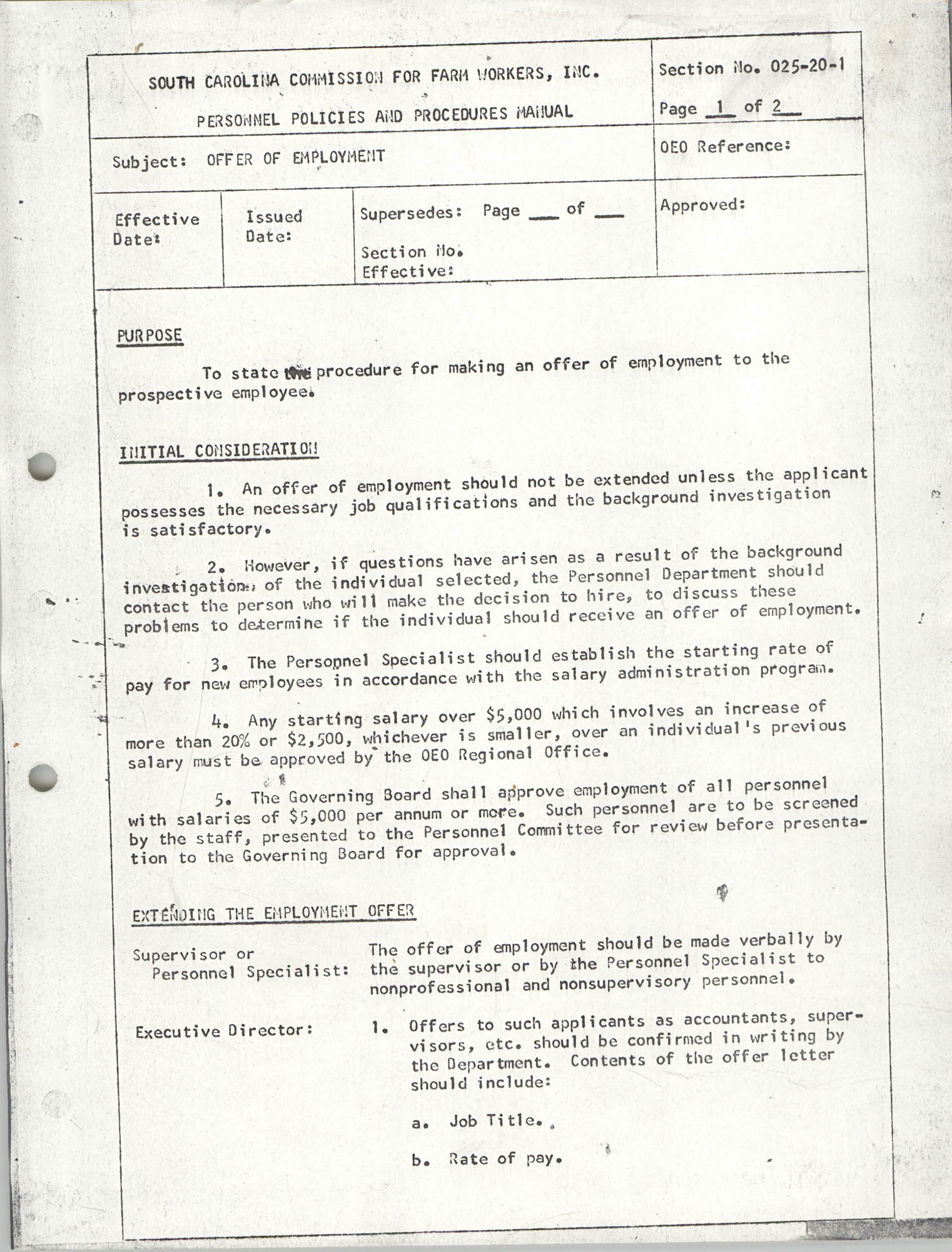 Personnel Policies and Procedures Manual, Section No. 025-20-1, Page 1