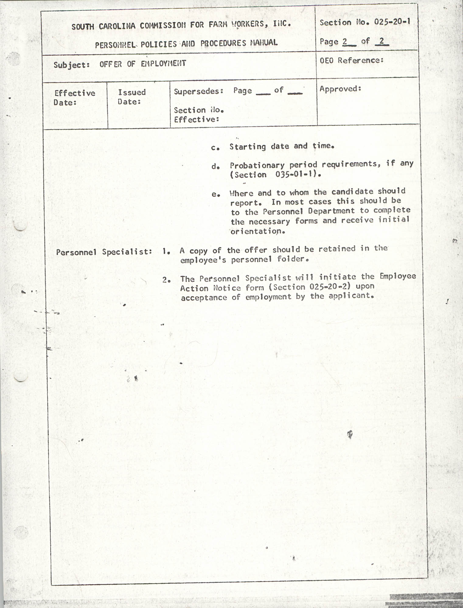 Personnel Policies and Procedures Manual, Section No. 025-20-1, Page 2