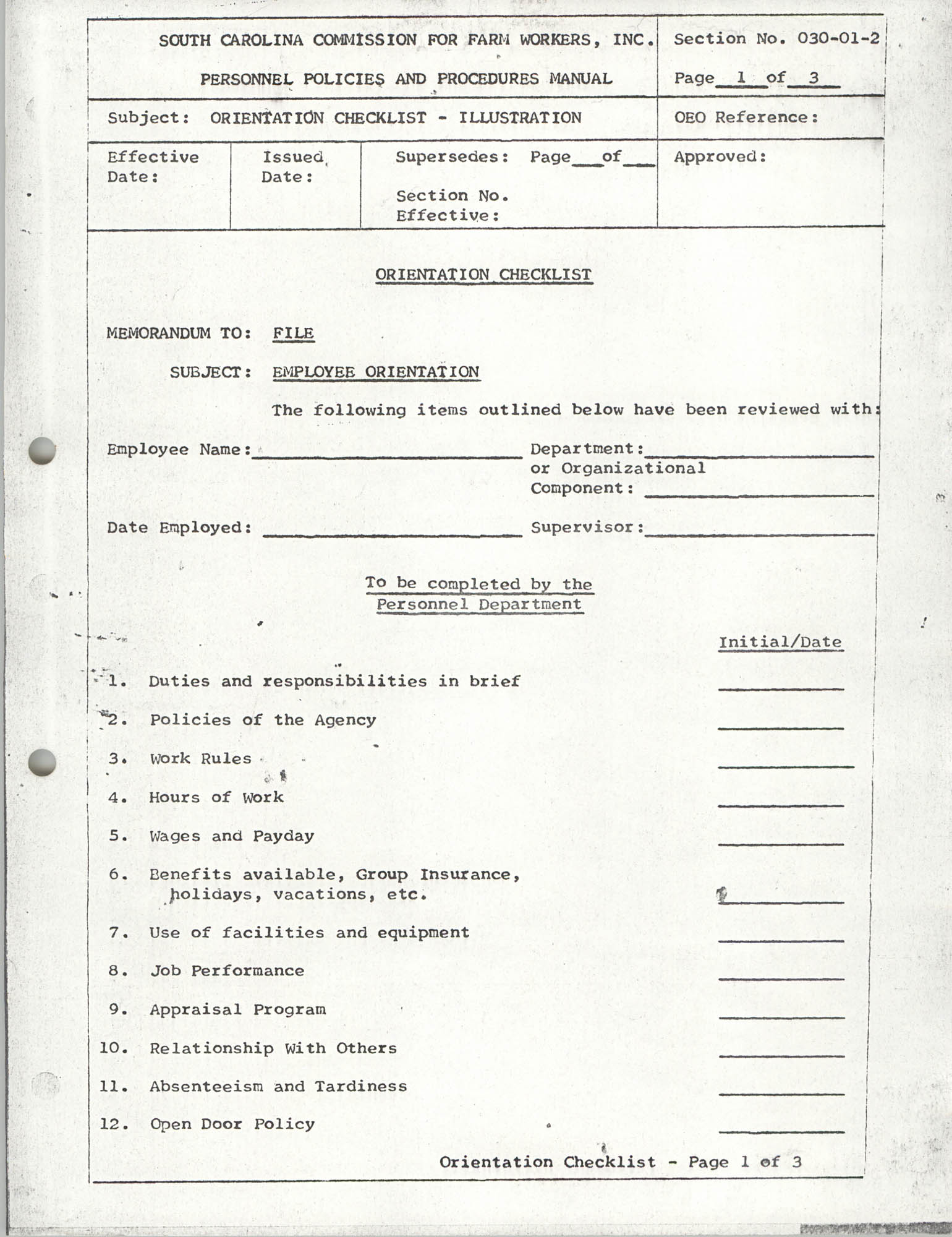 Personnel Policies and Procedures Manual, Section No. 030-01-2, Page 1
