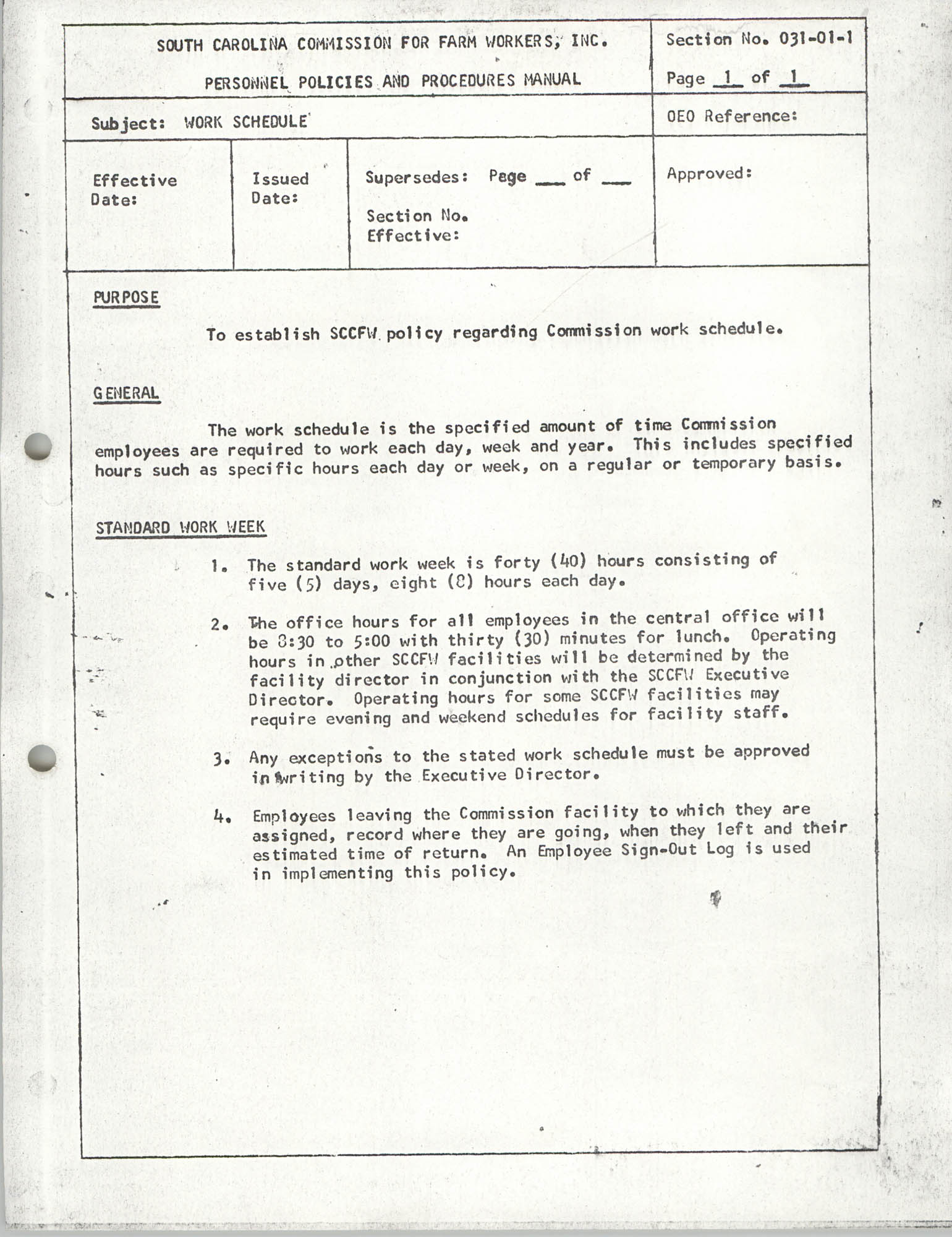 Personnel Policies and Procedures Manual, Section No. 031-01-1
