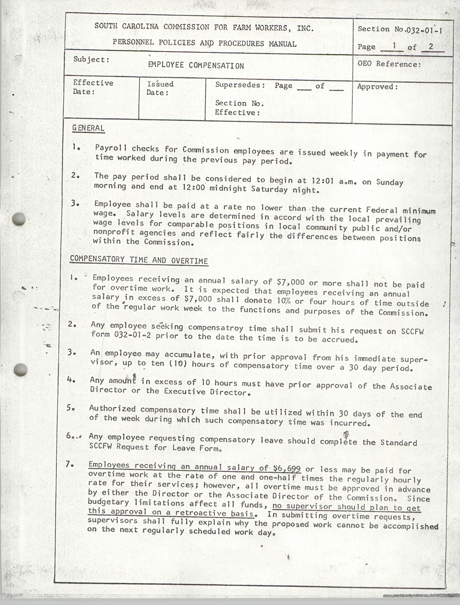 Personnel Policies and Procedures Manual, Section No. 032-01-1, Page 1