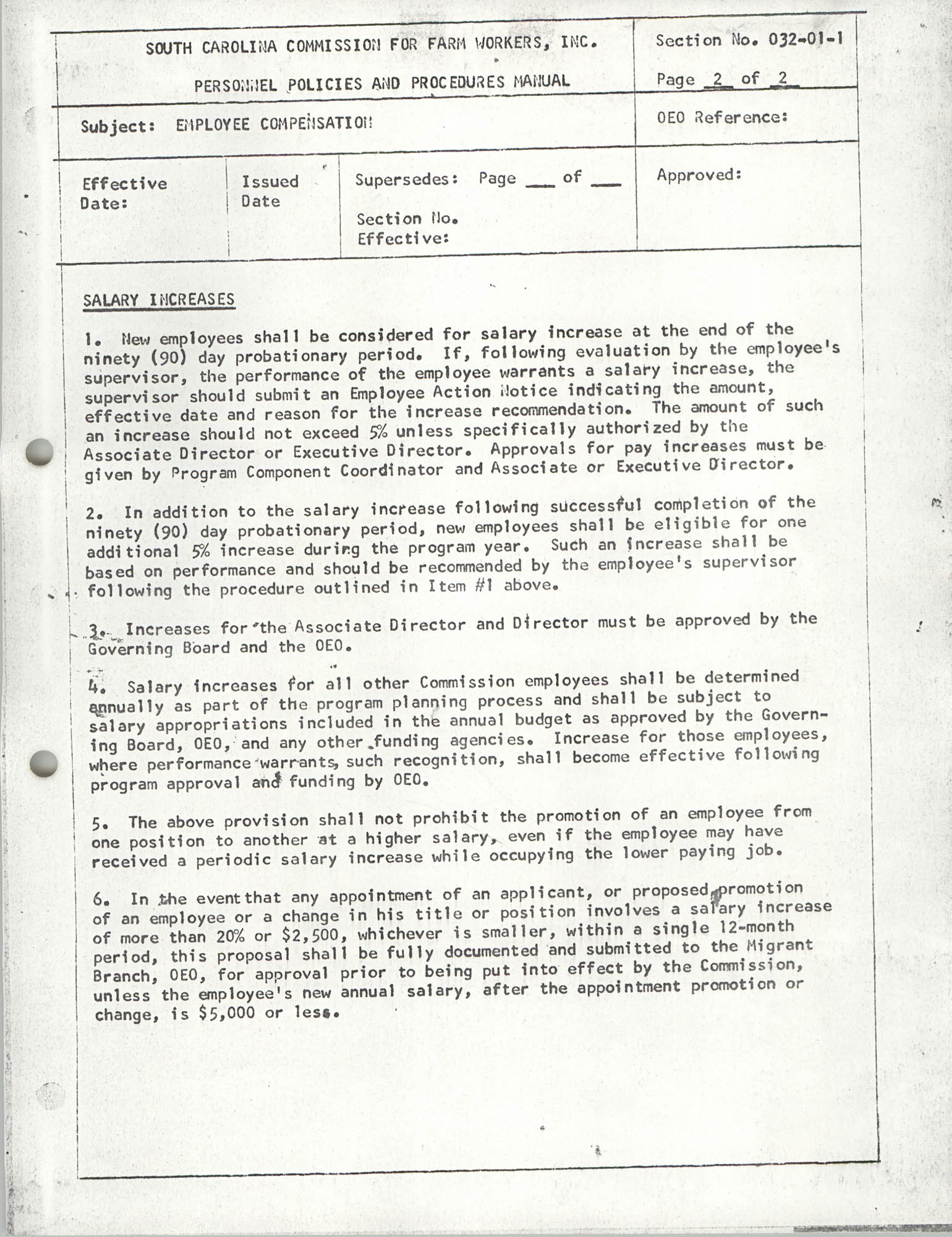 Personnel Policies and Procedures Manual, Section No. 032-01-1, Page 2