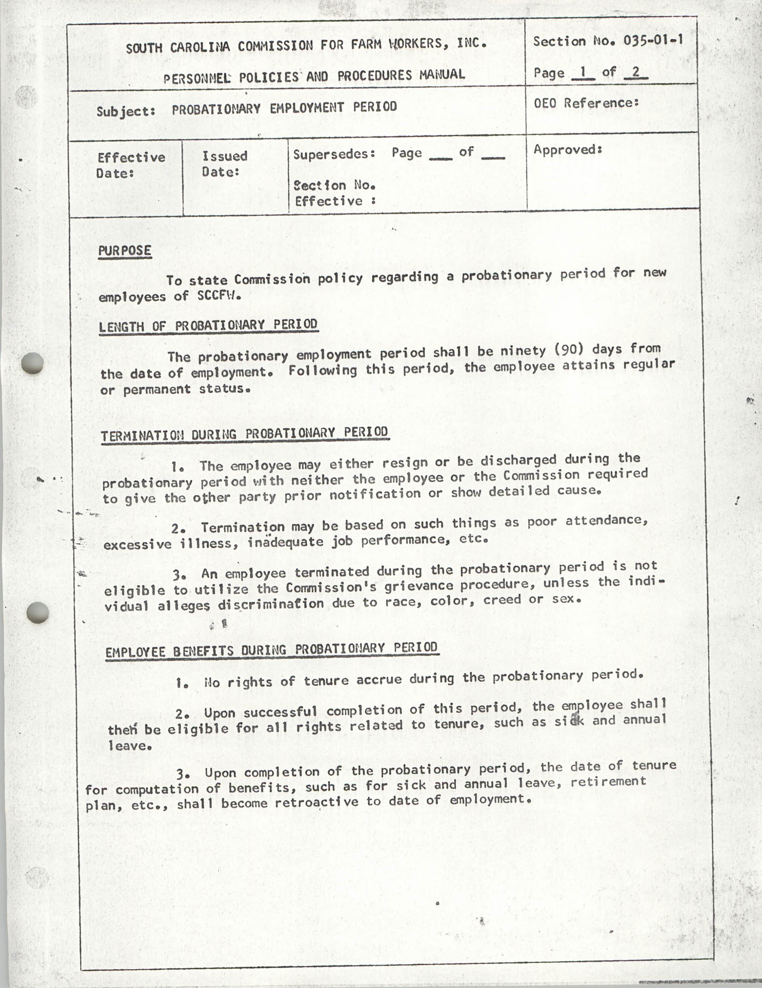 Personnel Policies and Procedures Manual, Section No. 035-01-1, Page 1