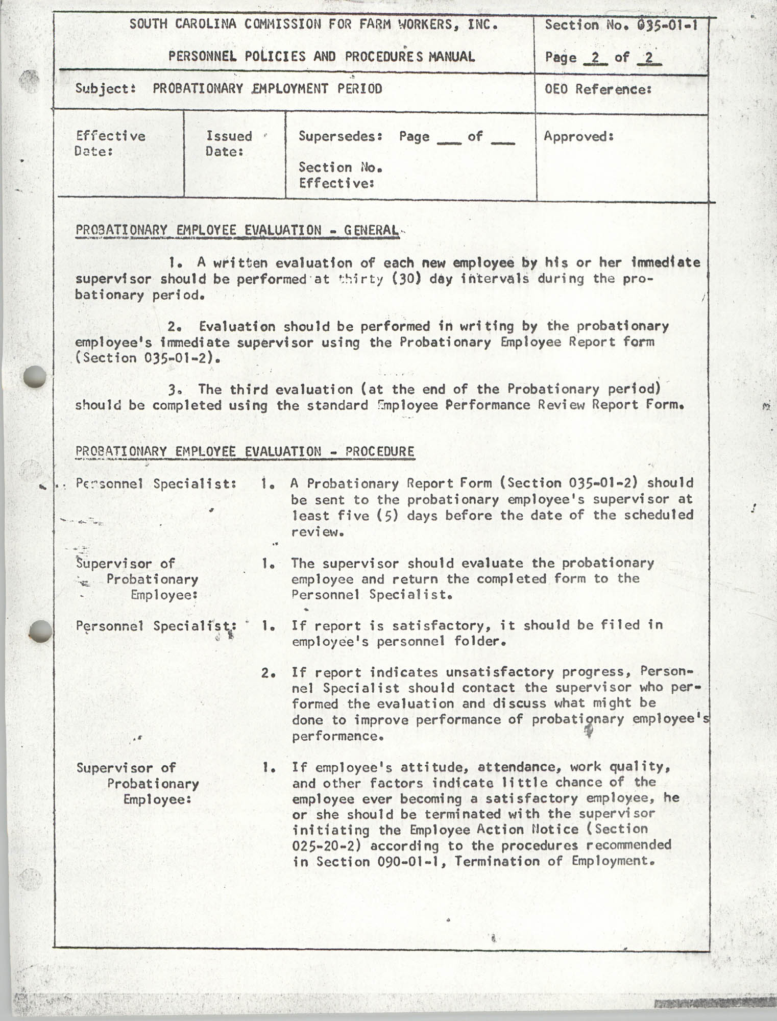 Personnel Policies and Procedures Manual, Section No. 035-01-1, Page 2