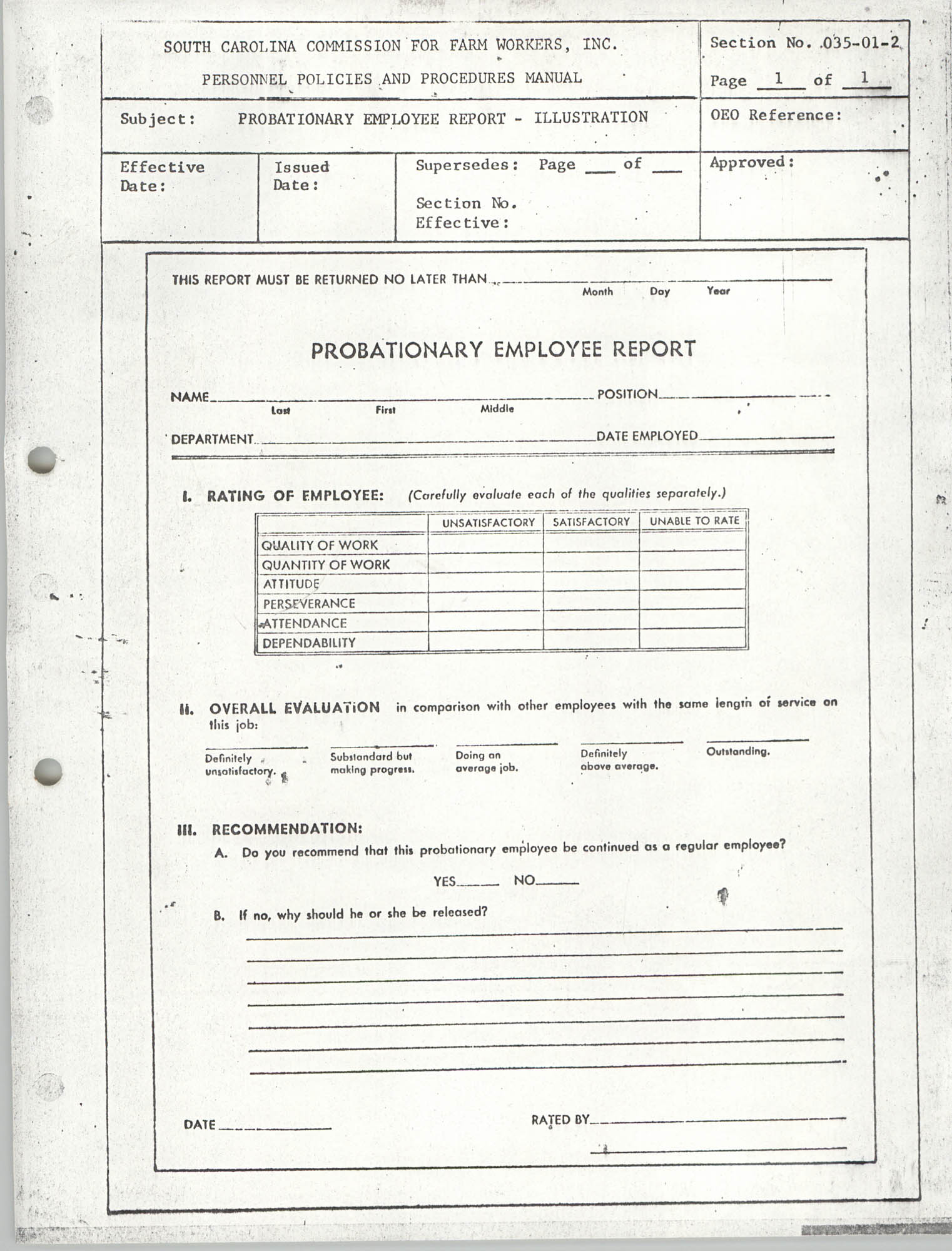 Personnel Policies and Procedures Manual, Section No. 035-01-2