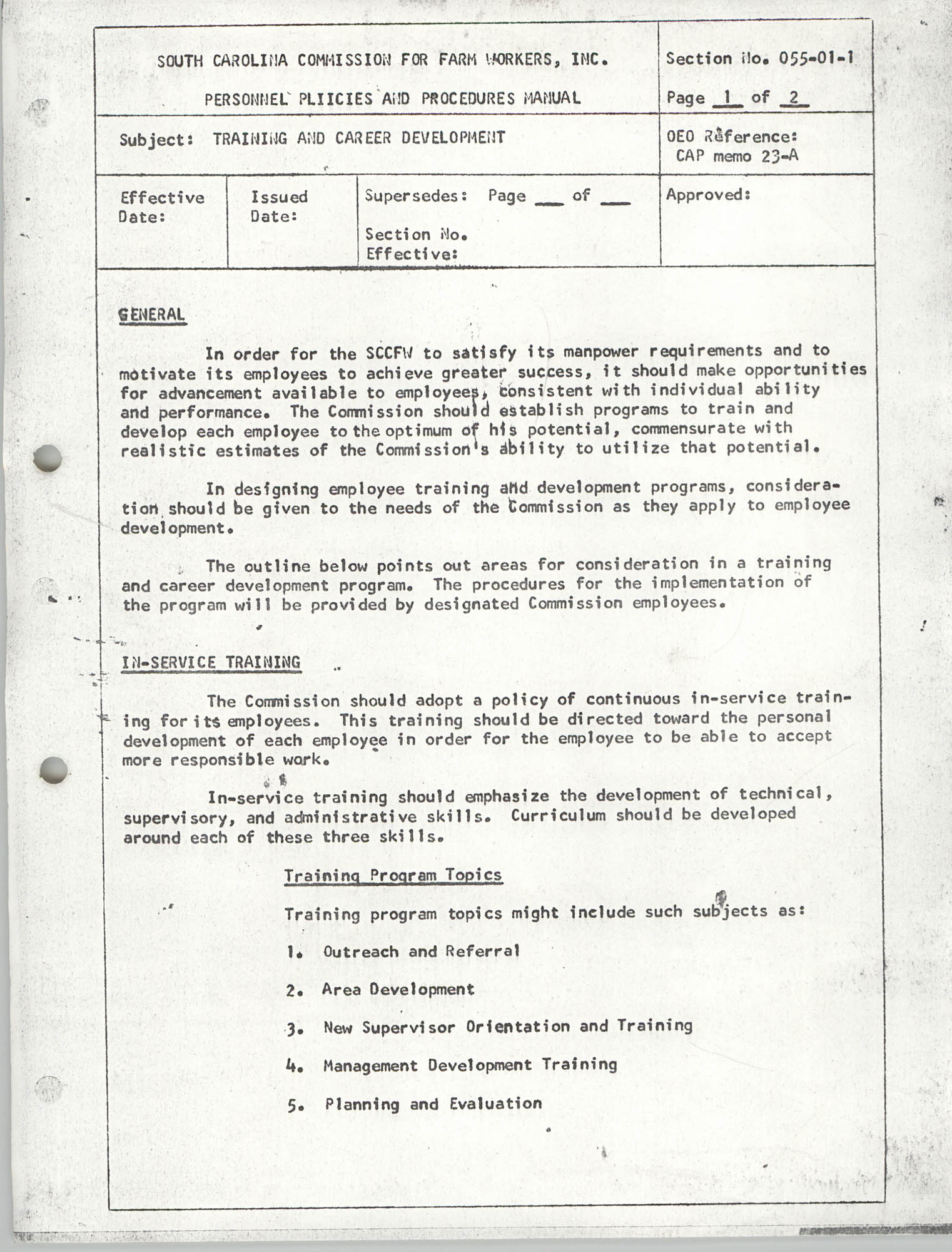 Personnel Policies and Procedures Manual, Section No. 055-01-1, Page 1