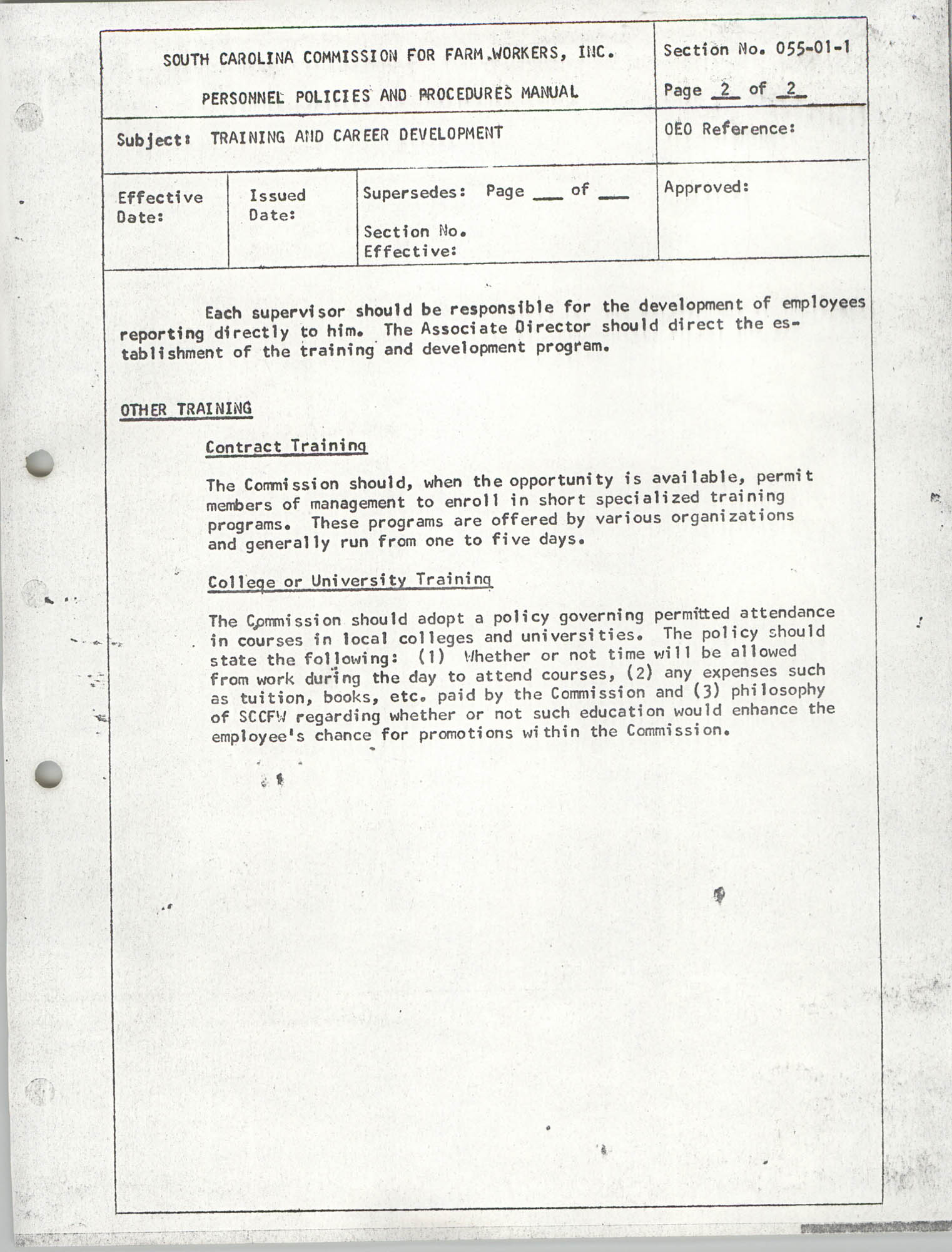 Personnel Policies and Procedures Manual, Section No. 060-01-1, Page 1