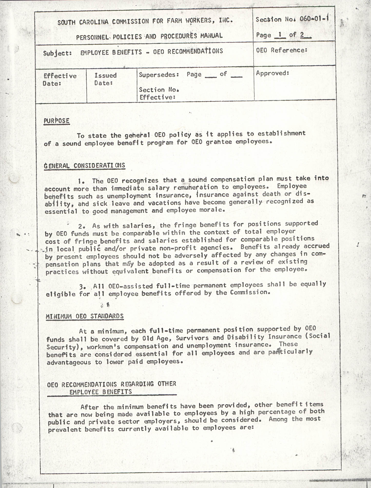 Personnel Policies and Procedures Manual, Section No. 060-01-1, Page 2