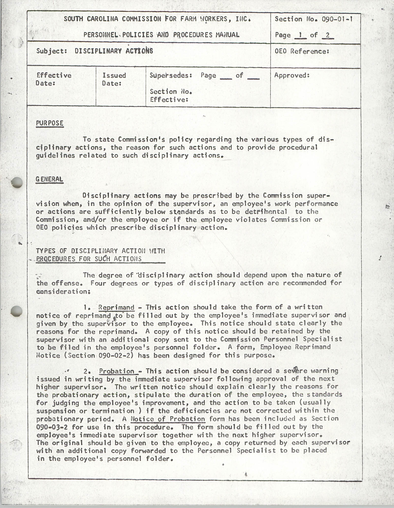 Personnel Policies and Procedures Manual, Section No. 090-01-1, Page 1