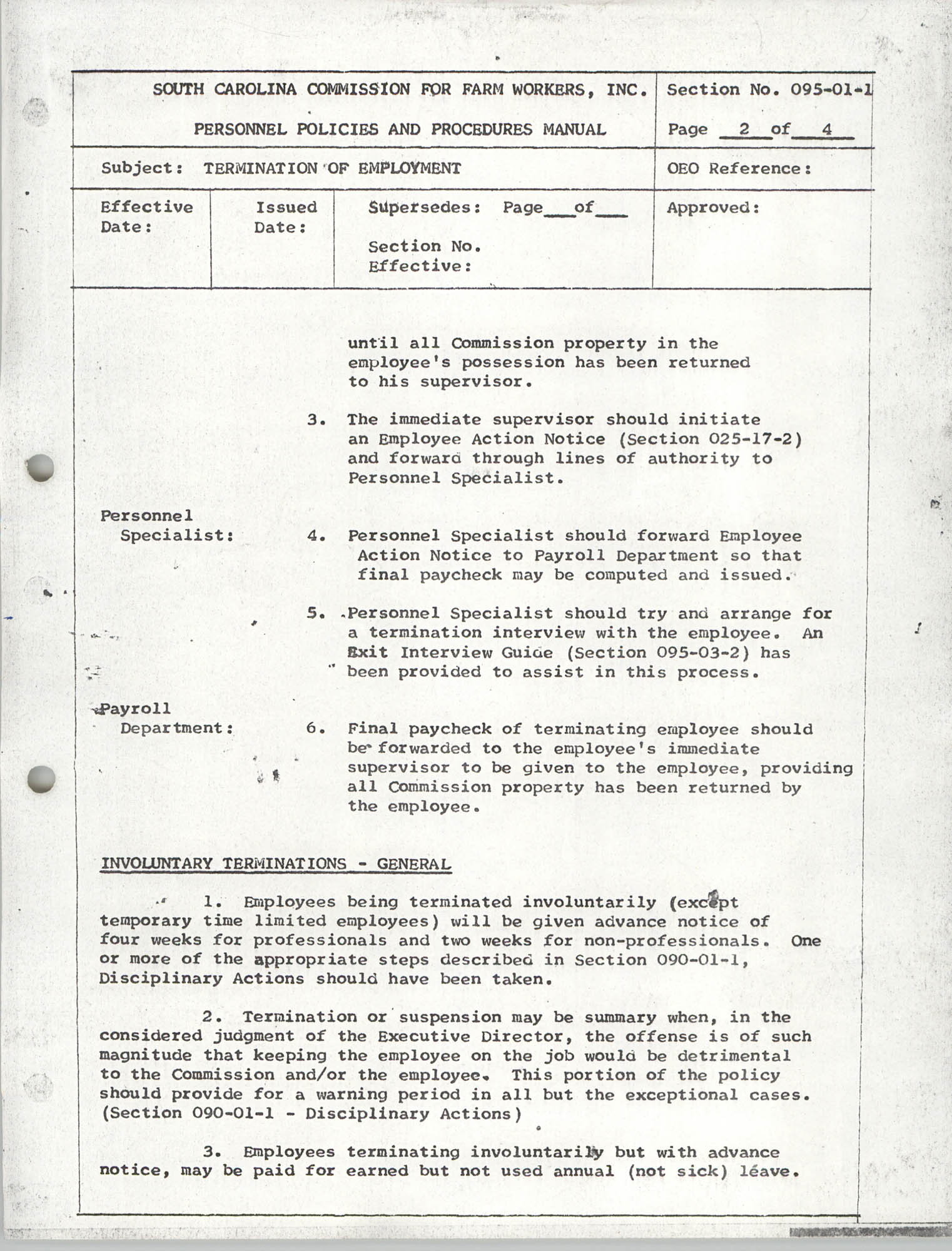 Personnel Policies and Procedures Manual, Section No. 095-01-1, Page 2