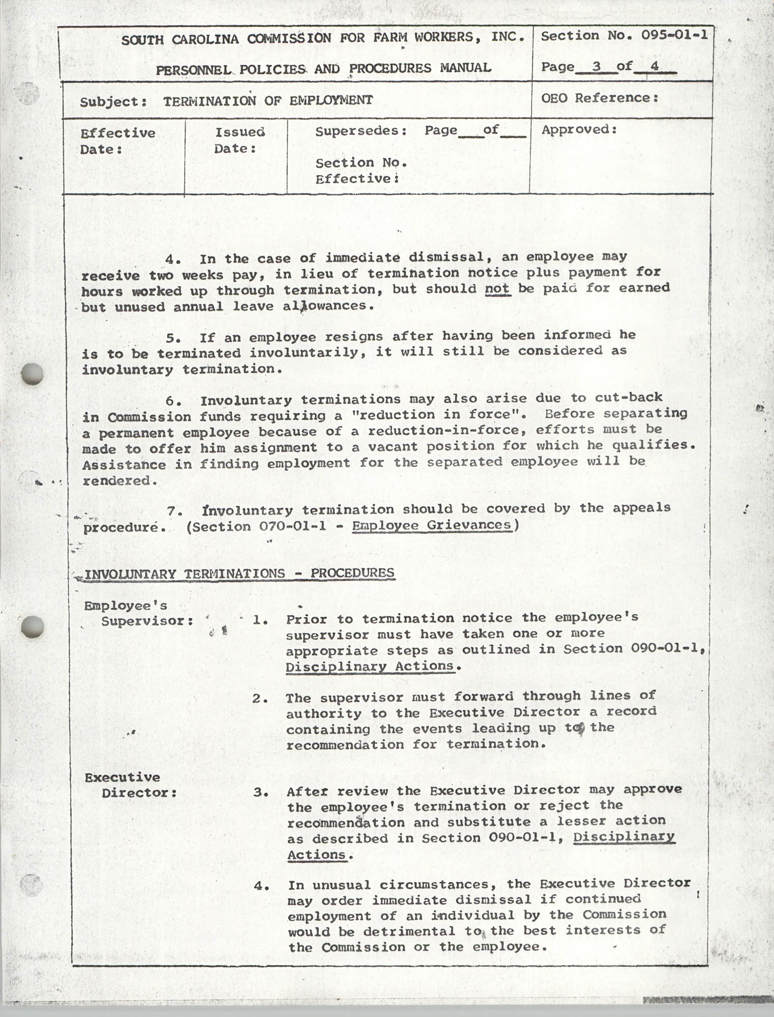 Personnel Policies and Procedures Manual, Section No. 095-01-1, Page 3