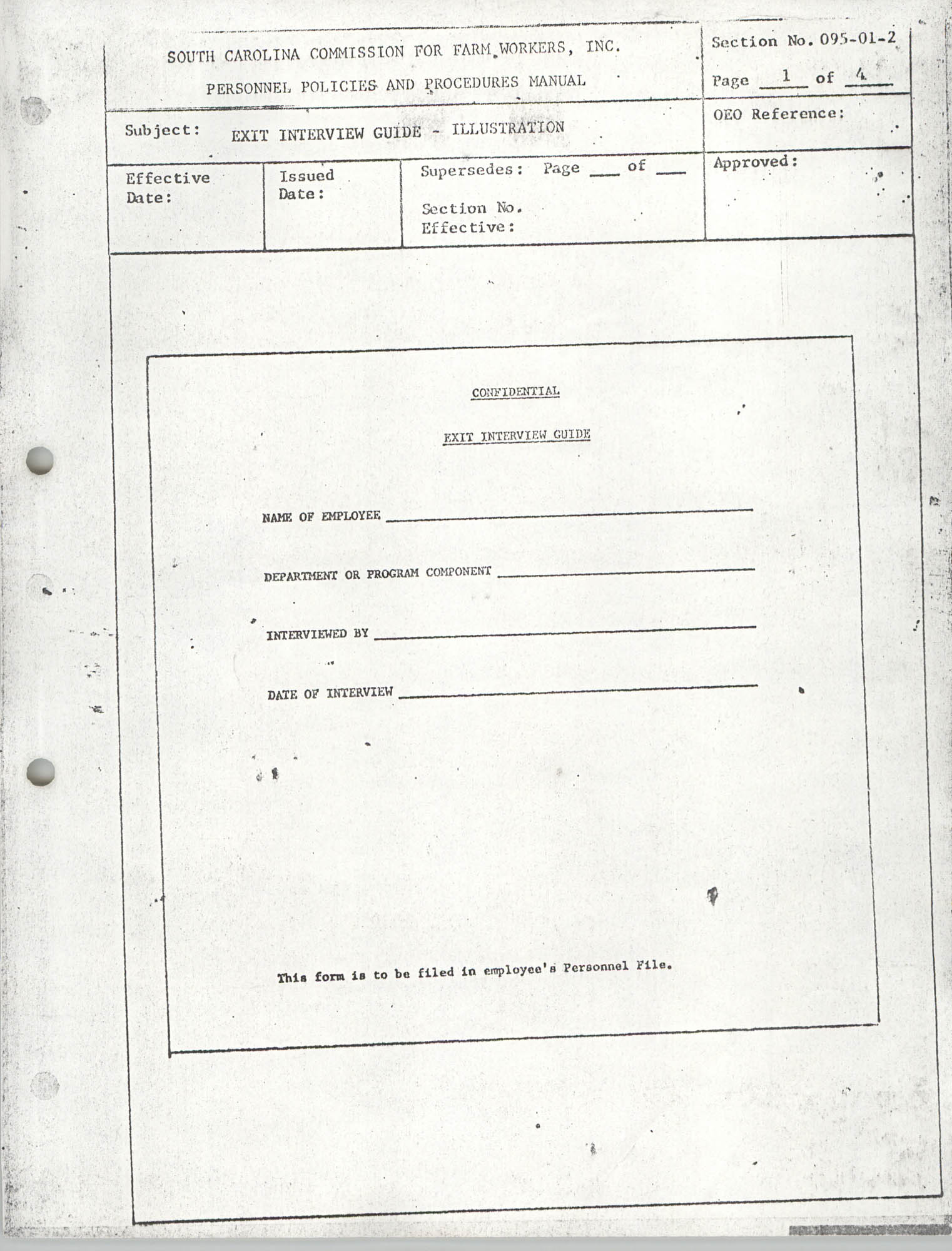 Personnel Policies and Procedures Manual, Section No. 095-01-2, Page 1