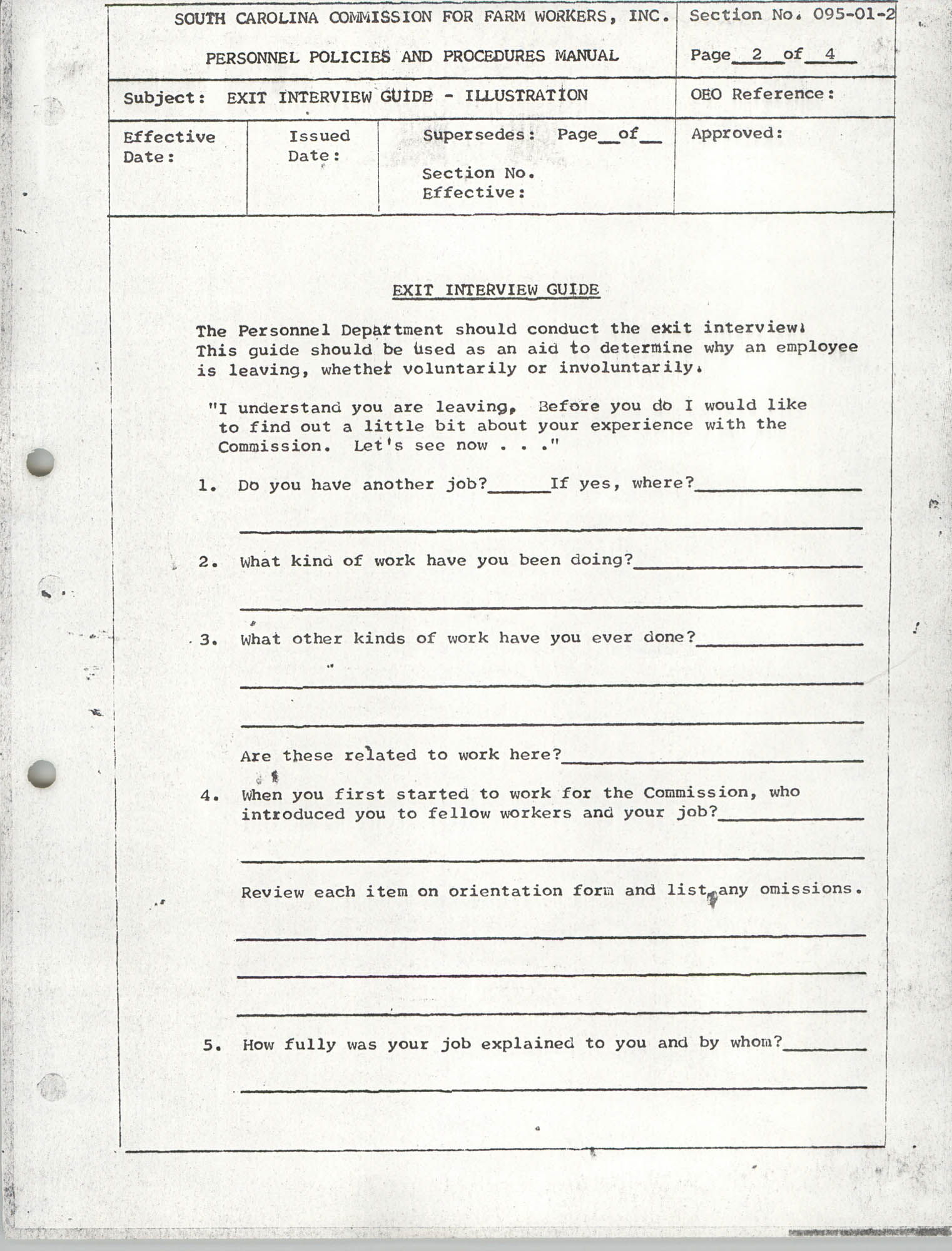 Personnel Policies and Procedures Manual, Section No. 095-01-2, Page 2