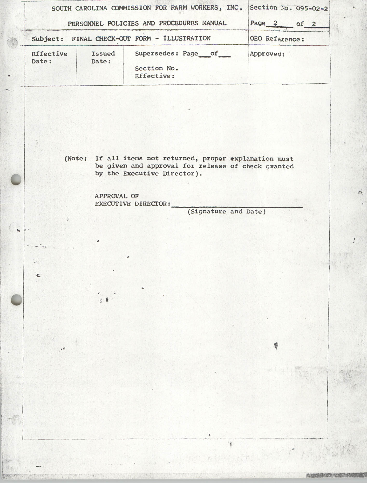Personnel Policies and Procedures Manual, Section No. 095-02-2, Page 2