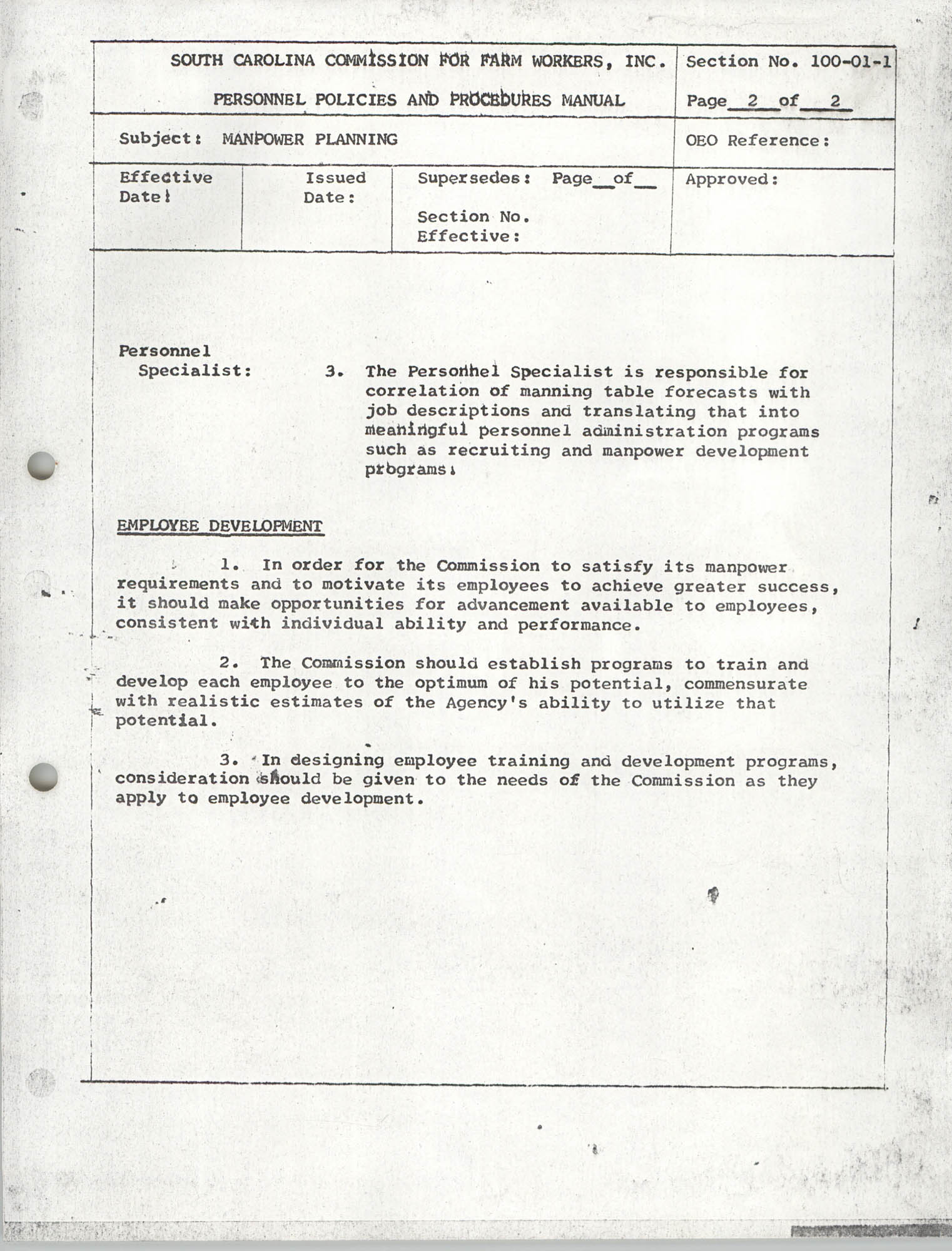 Personnel Policies and Procedures Manual, Section No. 100-01-1, Page 2