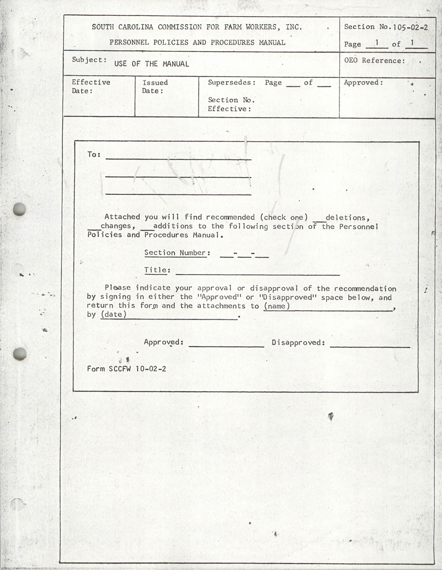 Personnel Policies and Procedures Manual, Section No. 105-02-2