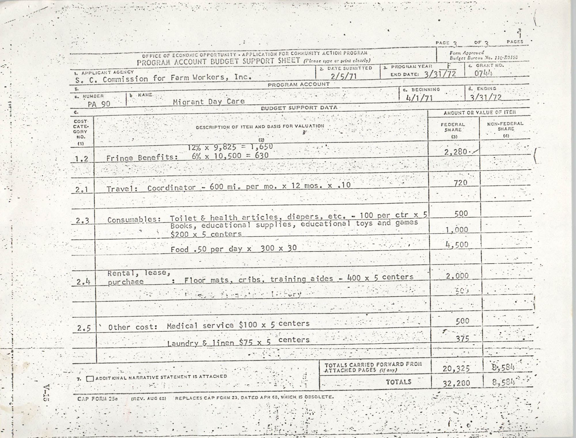 Migrant Day Care, Program Account Budget Forms, Page 3