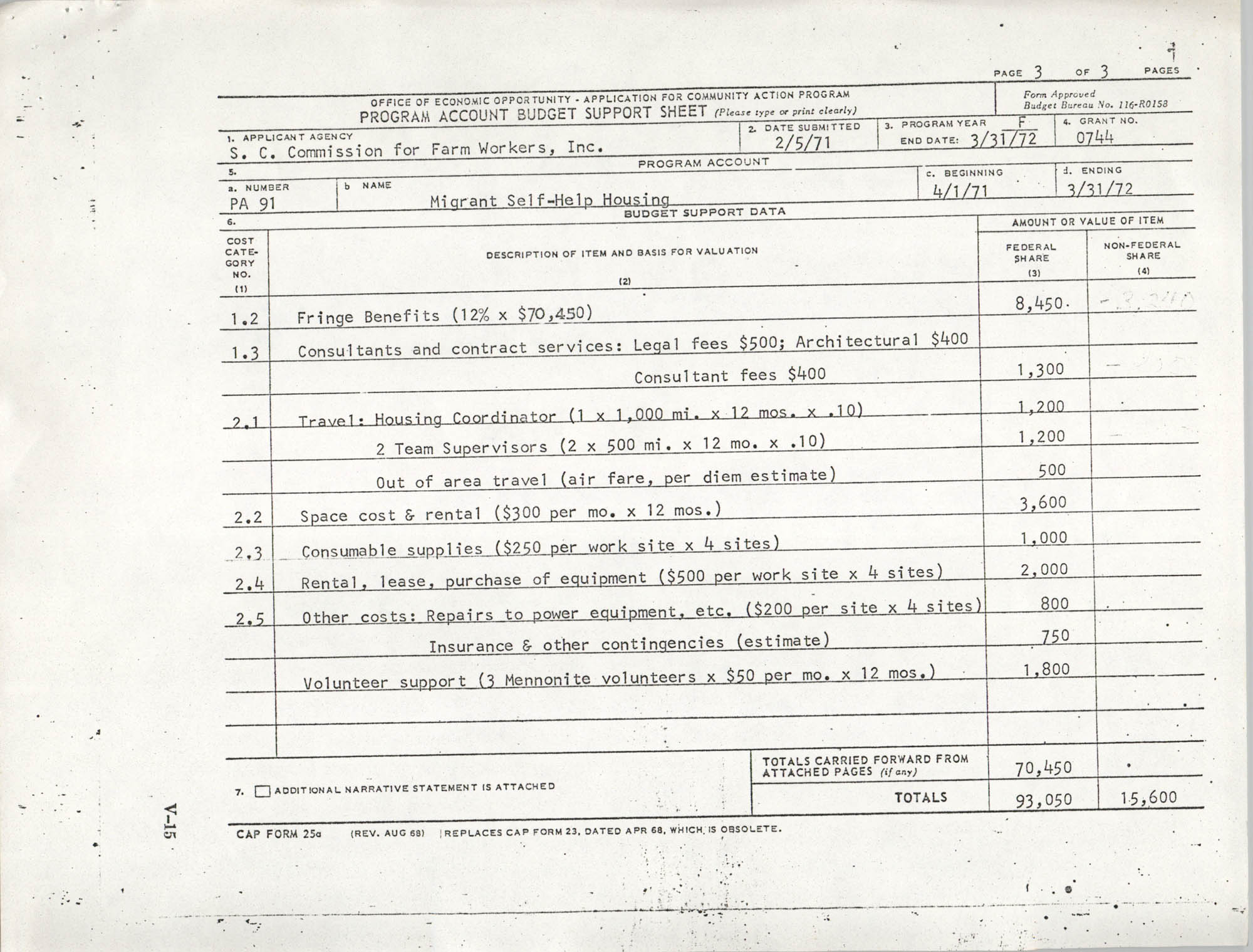 Migrant Self-Help Housing, Program Account Budget Forms, Page 3
