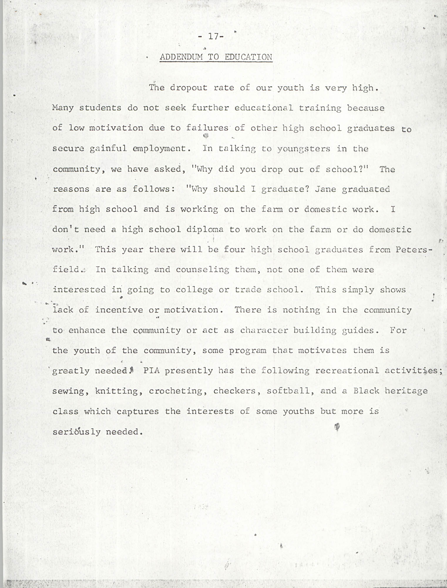 Report on Petersfield, South Carolina, Page 17