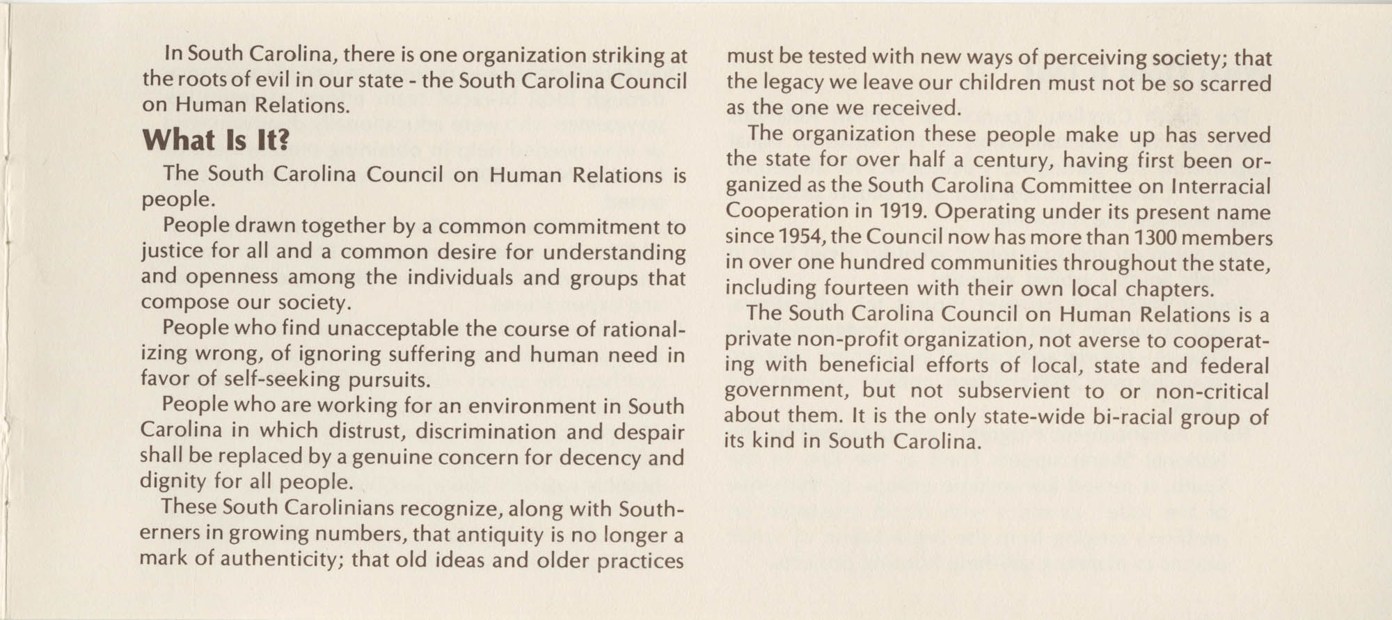 South Carolina Council on Human Relations Pamphlet, Page 2