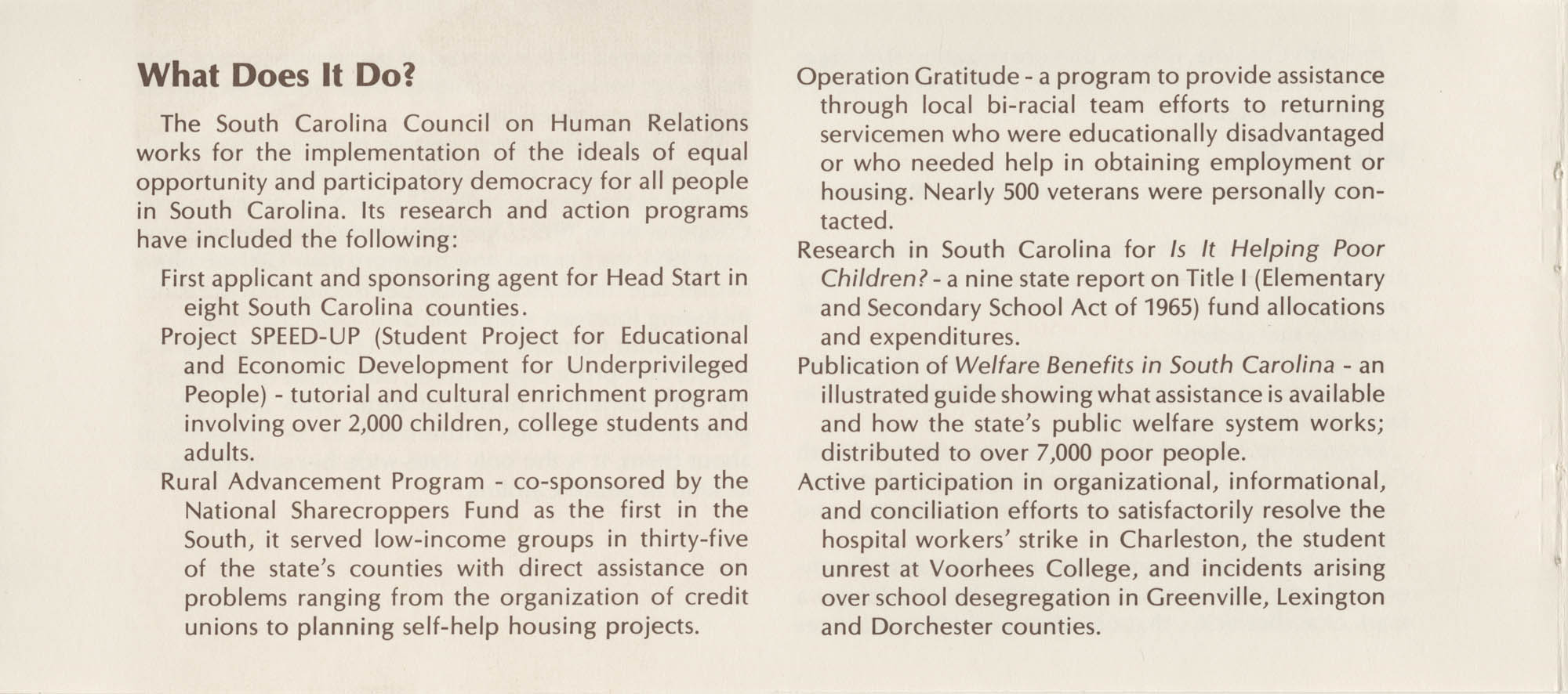 South Carolina Council on Human Relations Pamphlet, Page 3