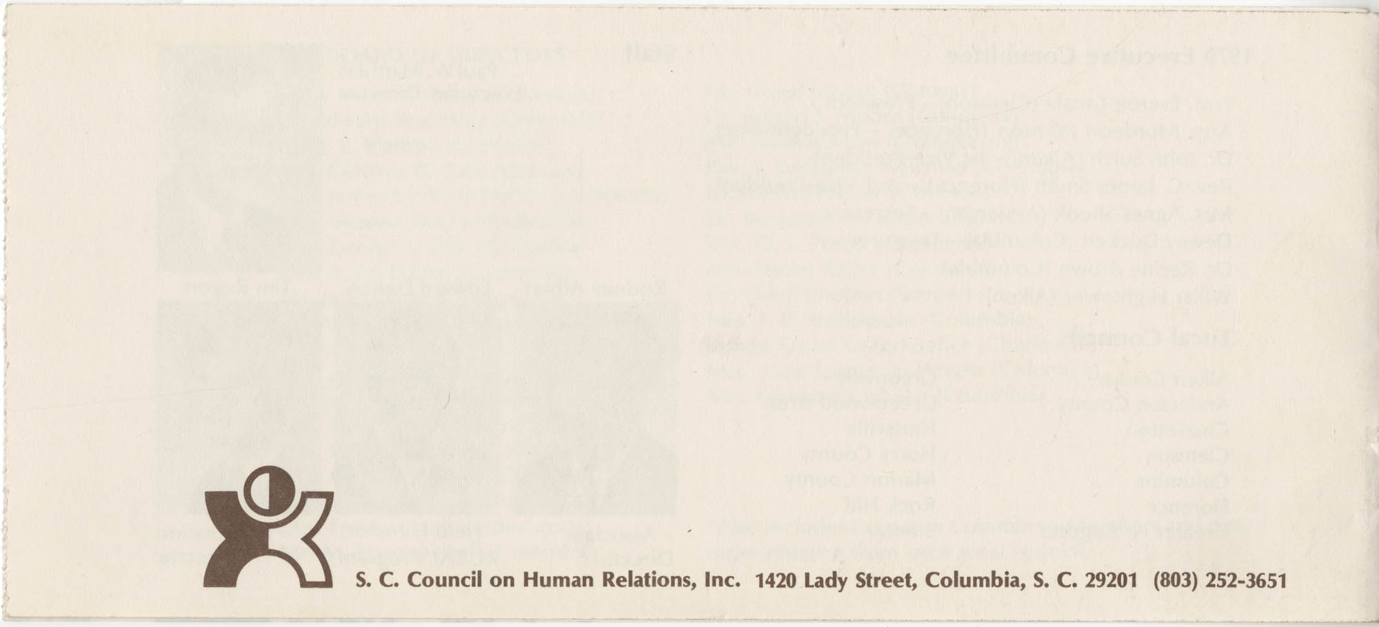 South Carolina Council on Human Relations Pamphlet, Back Cover