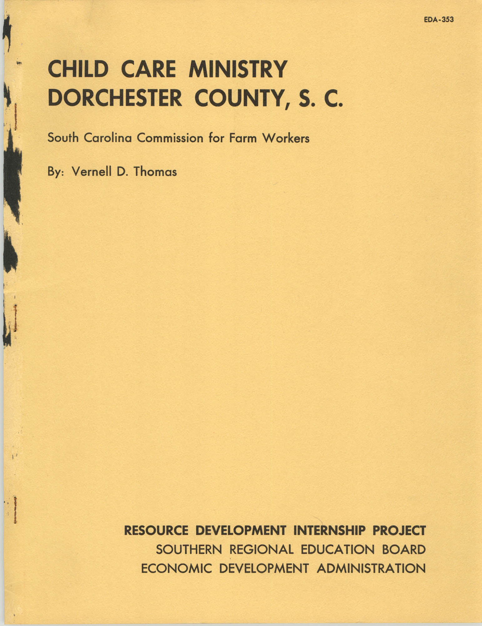 Child Care Ministry, Dorchester County, S.C., Front Cover