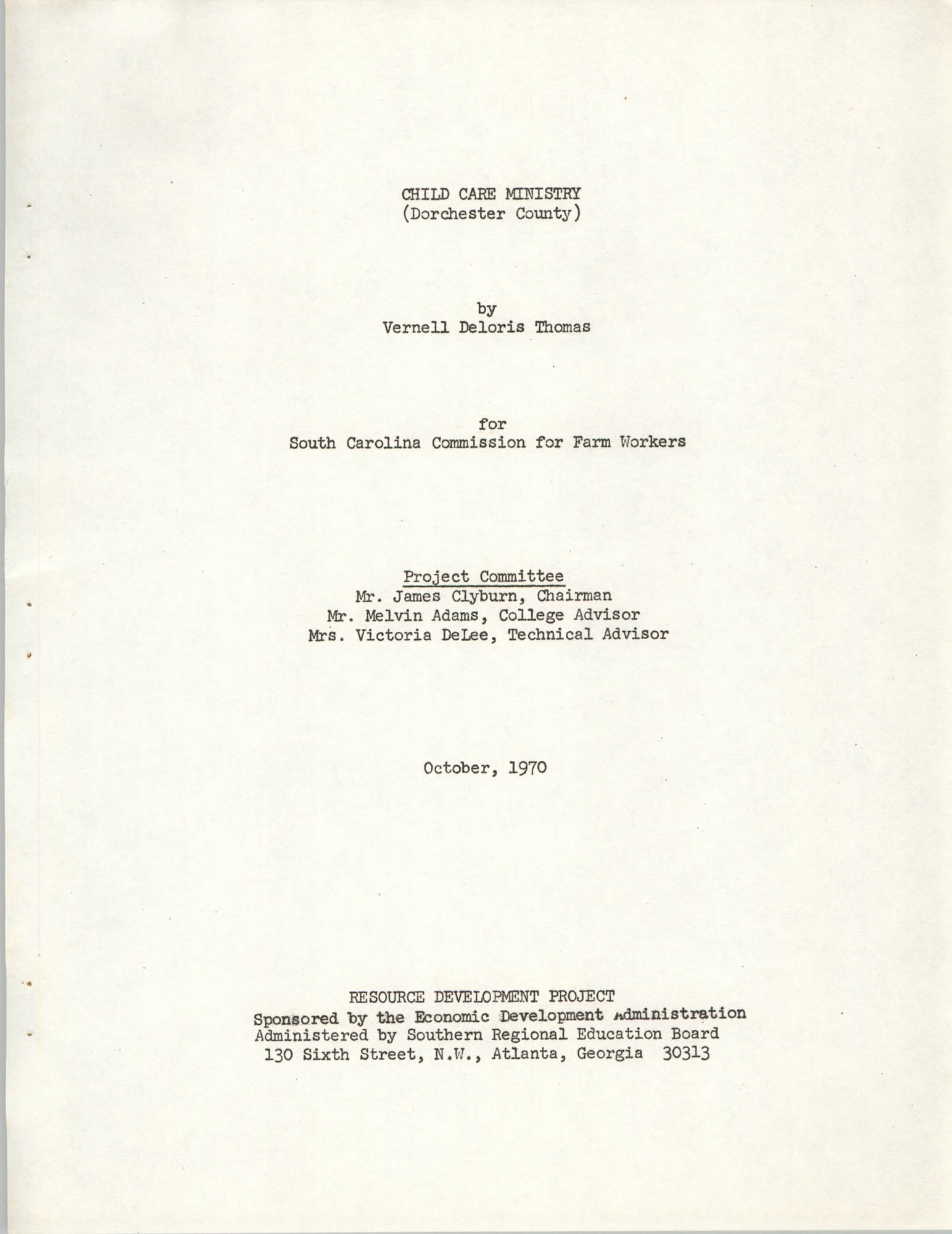 Child Care Ministry, Dorchester County, S.C., Title Page